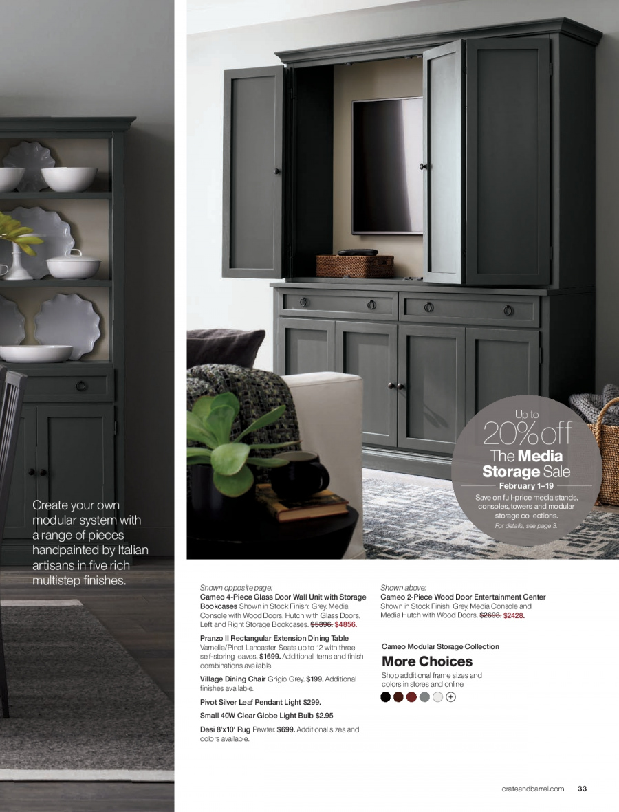 Crate & Barrel Flyer - 02.01.2018 - 02.28.2018 - Sales products - bulb, console, dining table, door, frame, light bulb, media console, rug, table, chair, pendant. Page 33.