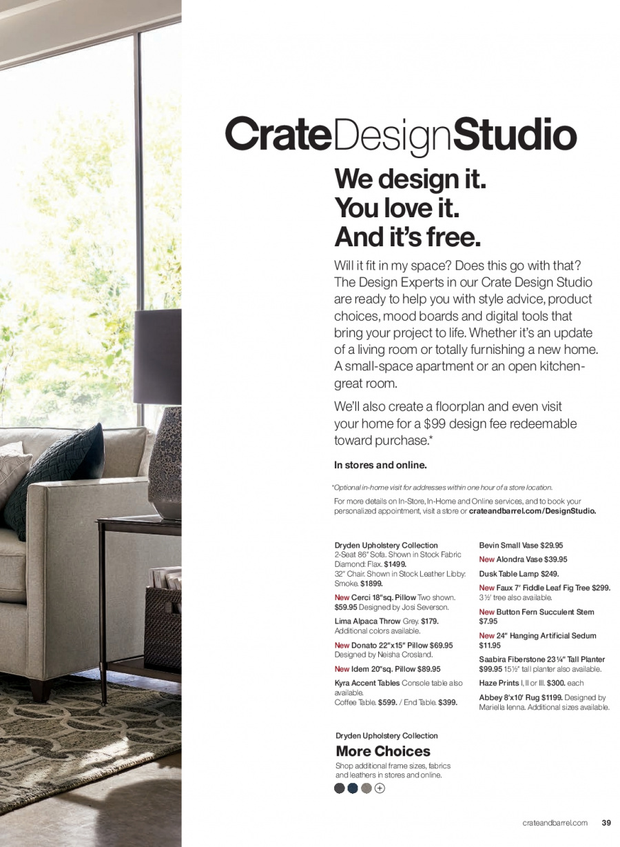 Crate & Barrel Flyer - 02.01.2018 - 02.28.2018 - Sales products - coffee, coffee table, console, crate, end table, frame, lamp, rug, sofa, table, throw, tree, chair, kitchen, pillow. Page 39.
