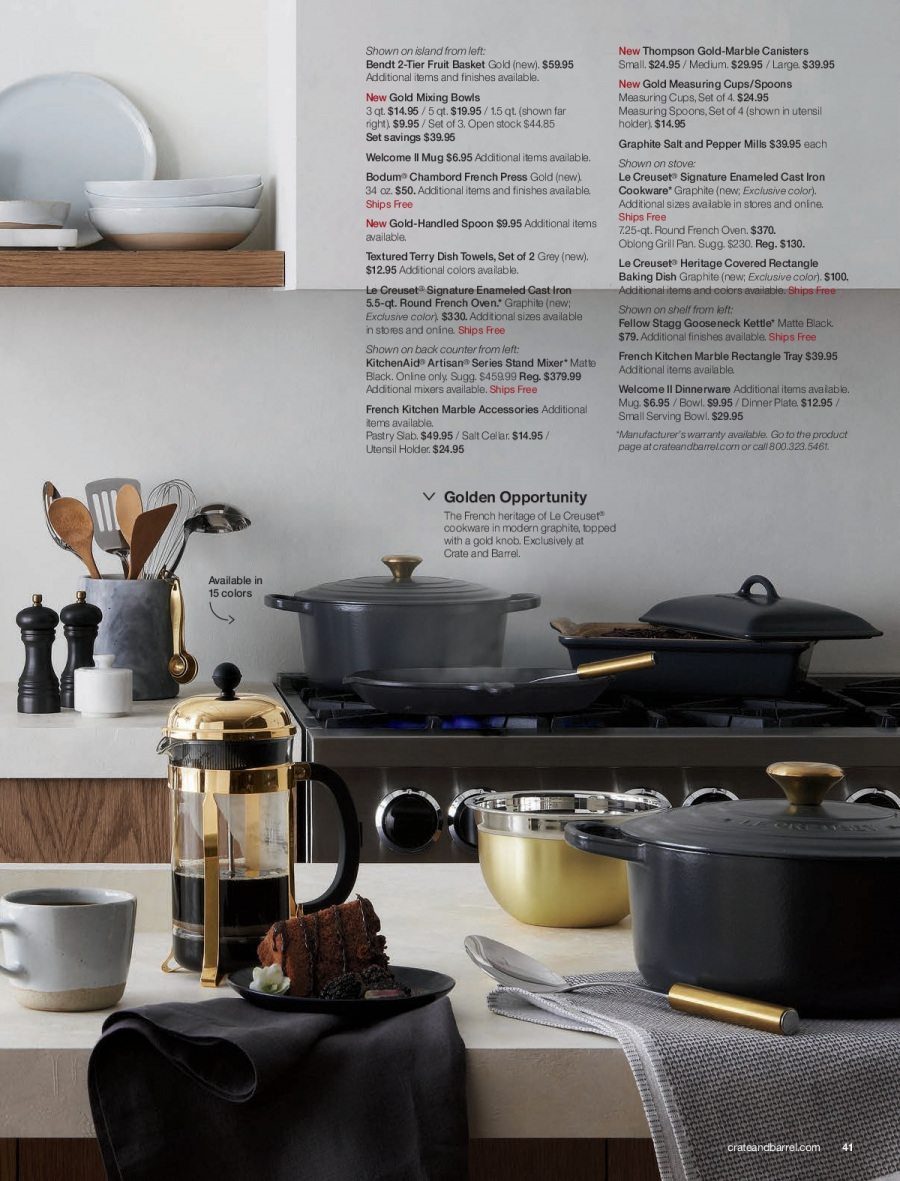 Crate & Barrel Flyer - 02.01.2018 - 02.28.2018 - Sales products - basket, bowl, crate, grill, kitchenaid, knob, mug, shelf, spoon, stand, towel, tray, holder, iron, kitchen, plate, pan, oven. Page 41.