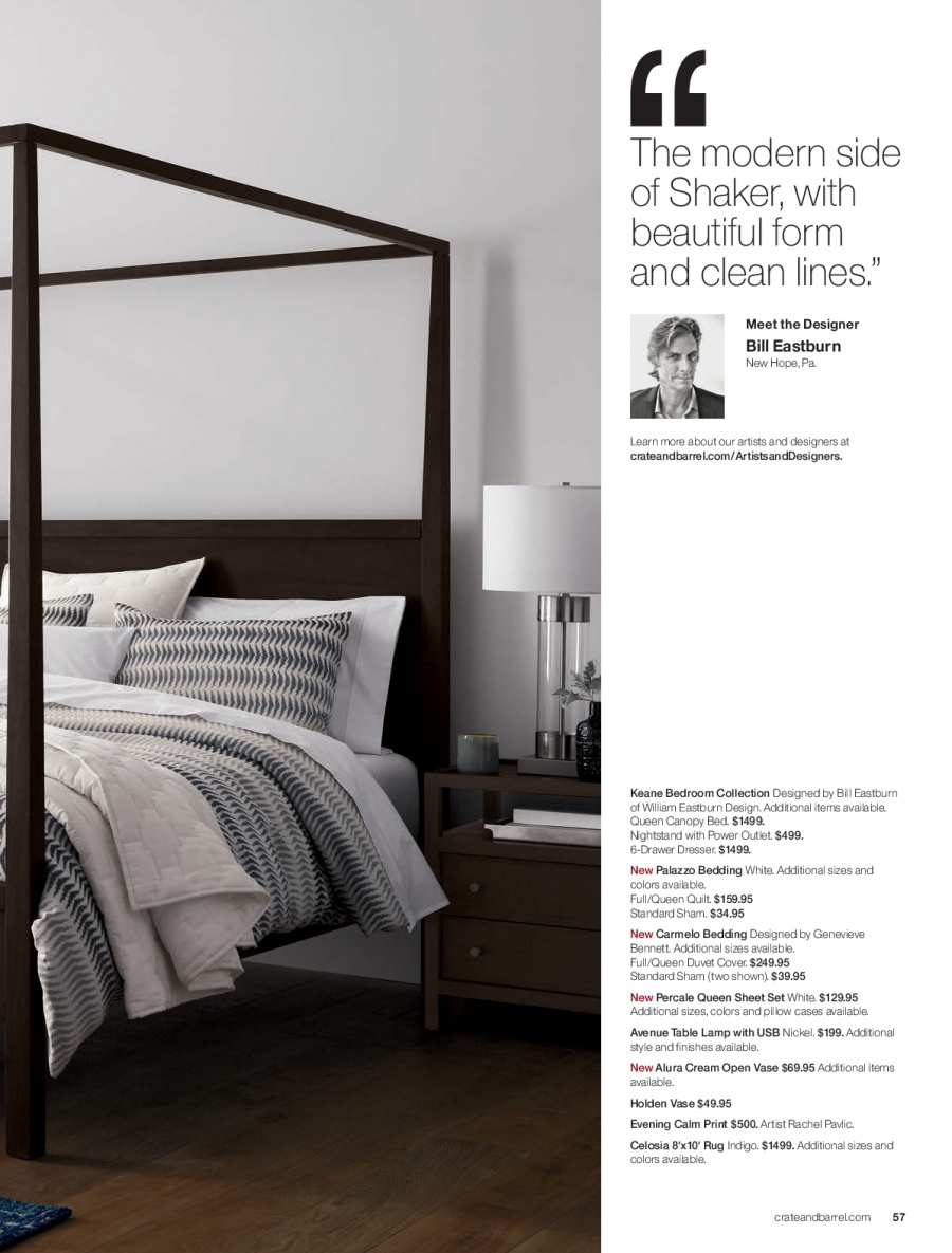 Crate & Barrel Flyer - 02.01.2018 - 02.28.2018 - Sales products - bed, bedding, canopy, drawer, duvet, duvet cover, lamp, rug, sham, sheet, sheet set, table, usb drive, pillow, quilt. Page 57.