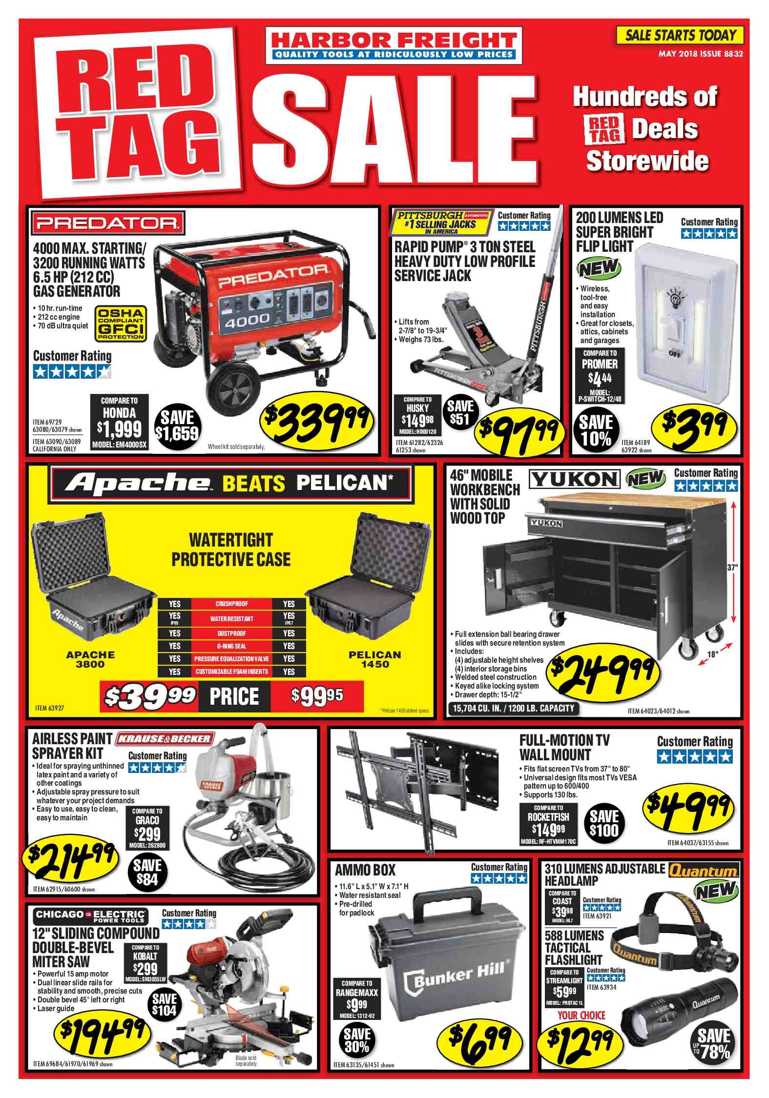 Harbor Freight Flyer  - 05.01.2018 - 05.31.2018. Page 1.