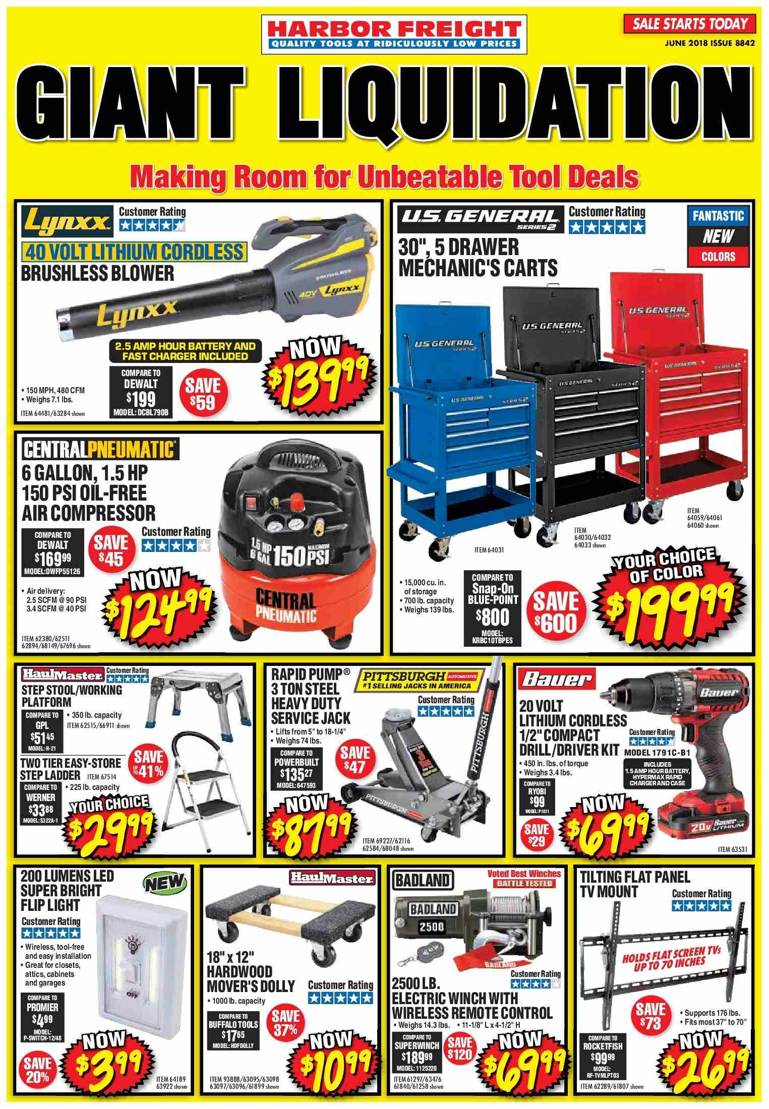 Harbor Freight Flyer  - 06.01.2018 - 06.30.2018. Page 1.