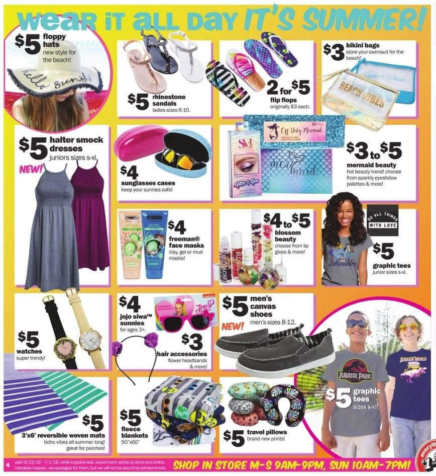 Five Below Flyer - 06.23.2018 - 07.01.2018 - Sales products - accessories, bag, bikini, blanket, dress, graphic tee, lip gloss, safe, sandals, sunglasses, tee, watch, pillow. Page 4.