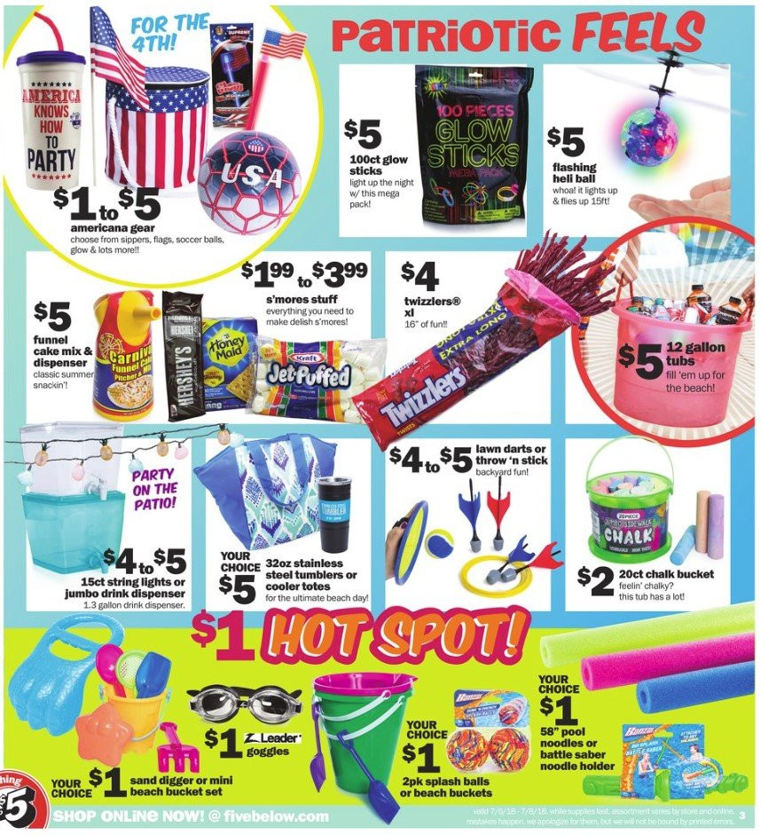Five Below Flyer - 07.06.2018 - 07.08.2018 - Sales products - cake mix, dispenser, stainless, stick, throw, totes, tumbler, holder, patio, noodle. Page 3.