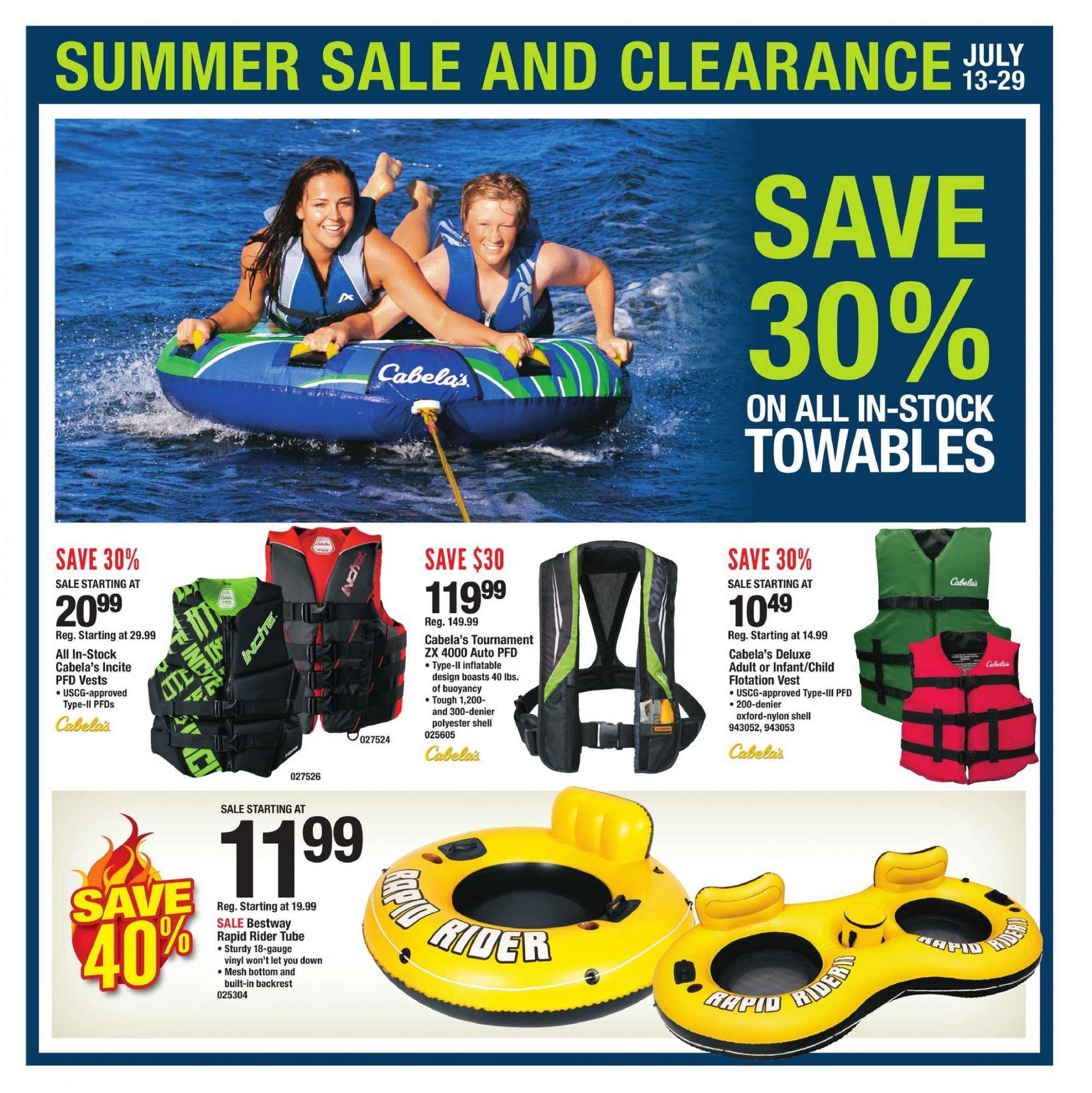Cabela's Flyer  - 07.13.2018 - 07.29.2018. Page 1.