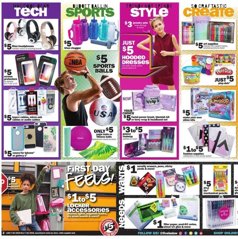 Five Below Flyer - 07.20.2018 - 07.22.2018 - Sales products - accessories, brush, dress, galaxy, shelf, shelves, usb, wrap, hook. Page 2.
