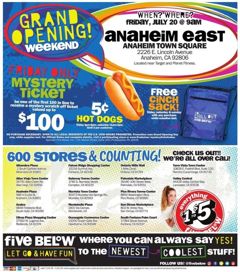 Five Below Flyer - 07.20.2018 - 07.22.2018 - Sales products - firestone, grand, hot dog, philadelphia. Page 4.