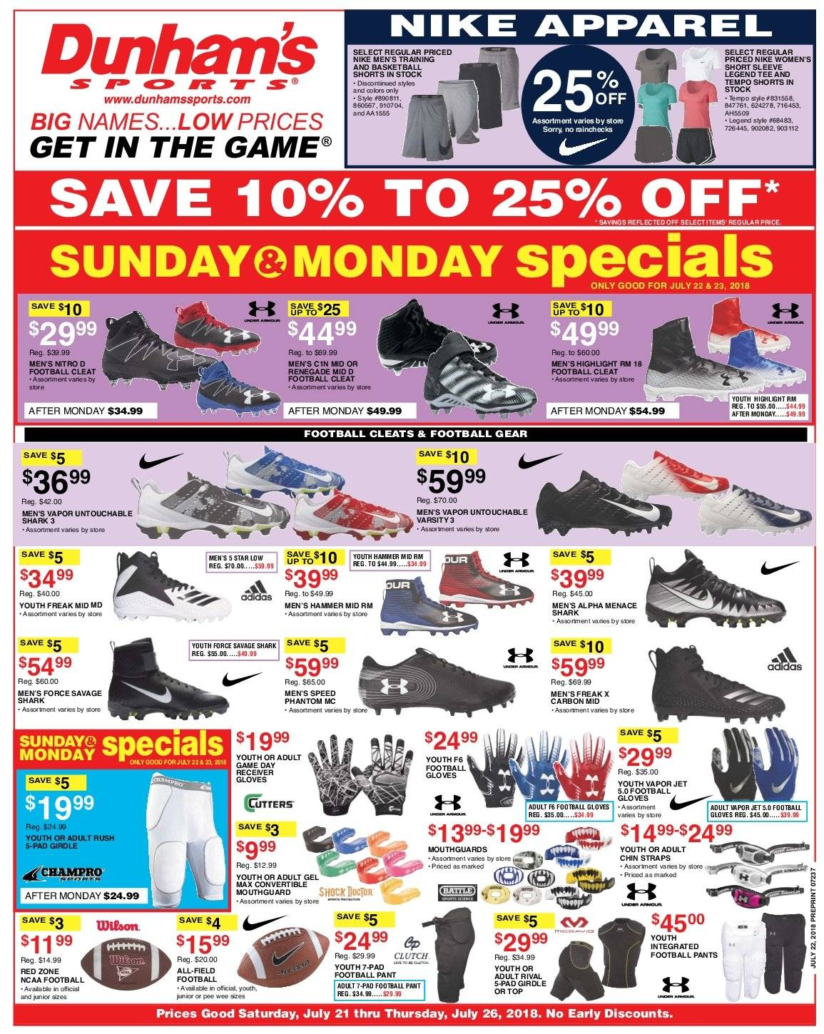 Dunham's Sports Flyer - 07.21.2018 - 07.26.2018 - Sales products - adidas, apparel, gloves, receiver, shorts, tee, wilson, pants, nike. Page 1.