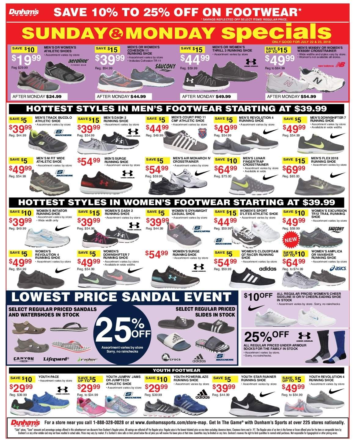 Dunham's Sports Flyer - 07.21.2018 - 07.26.2018 - Sales products - rode, sandals, shoes, slides, socks, surge, under armour. Page 2.