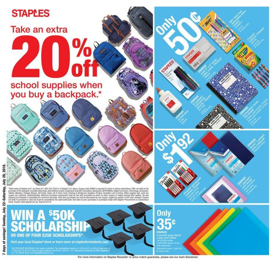 Staples Flyer 07 22 2018 07 28 2018 Weekly Ads Us