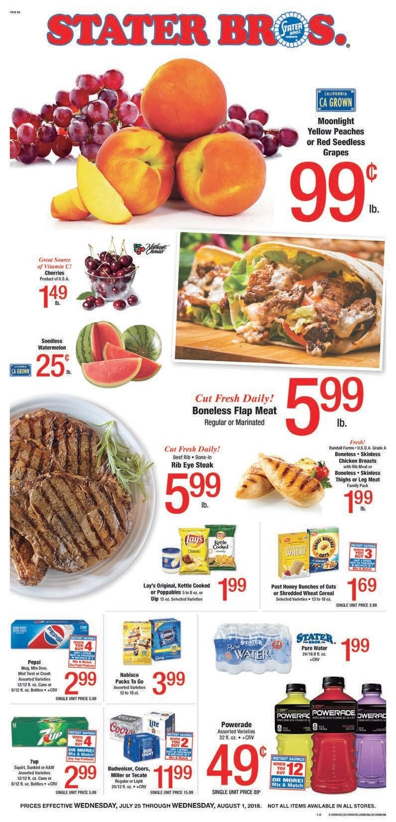 Stater Bros. Flyer  - 07.25.2018 - 08.01.2018. Page 1.