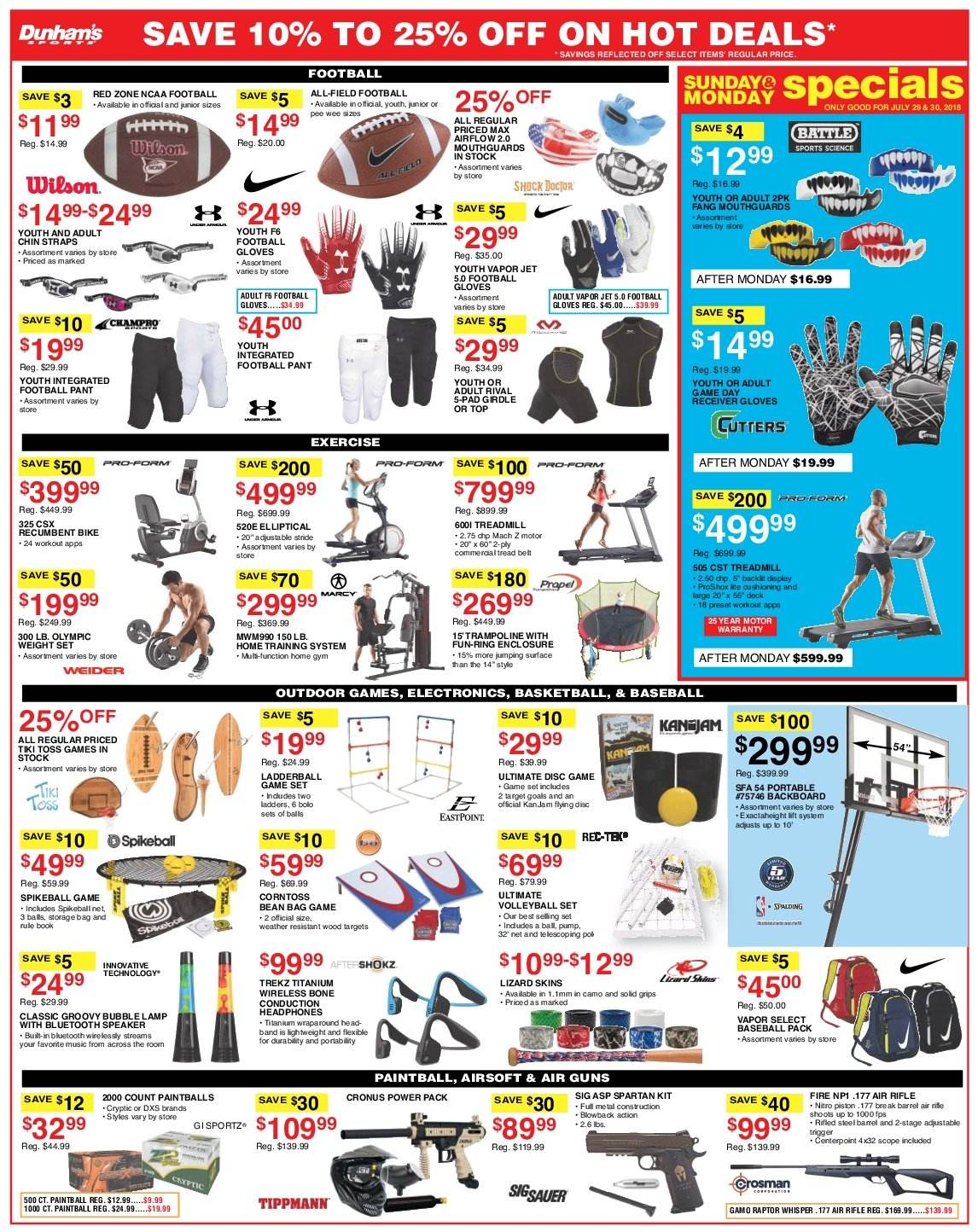 Dunham's Sports Flyer - 07.28.2018 - 08.02.2018 - Sales products - bag, band, basket, bike, bluetooth, football gloves, gloves, lamp, rifle, ring, solid, speaker, trampoline, head, jam. Page 3.