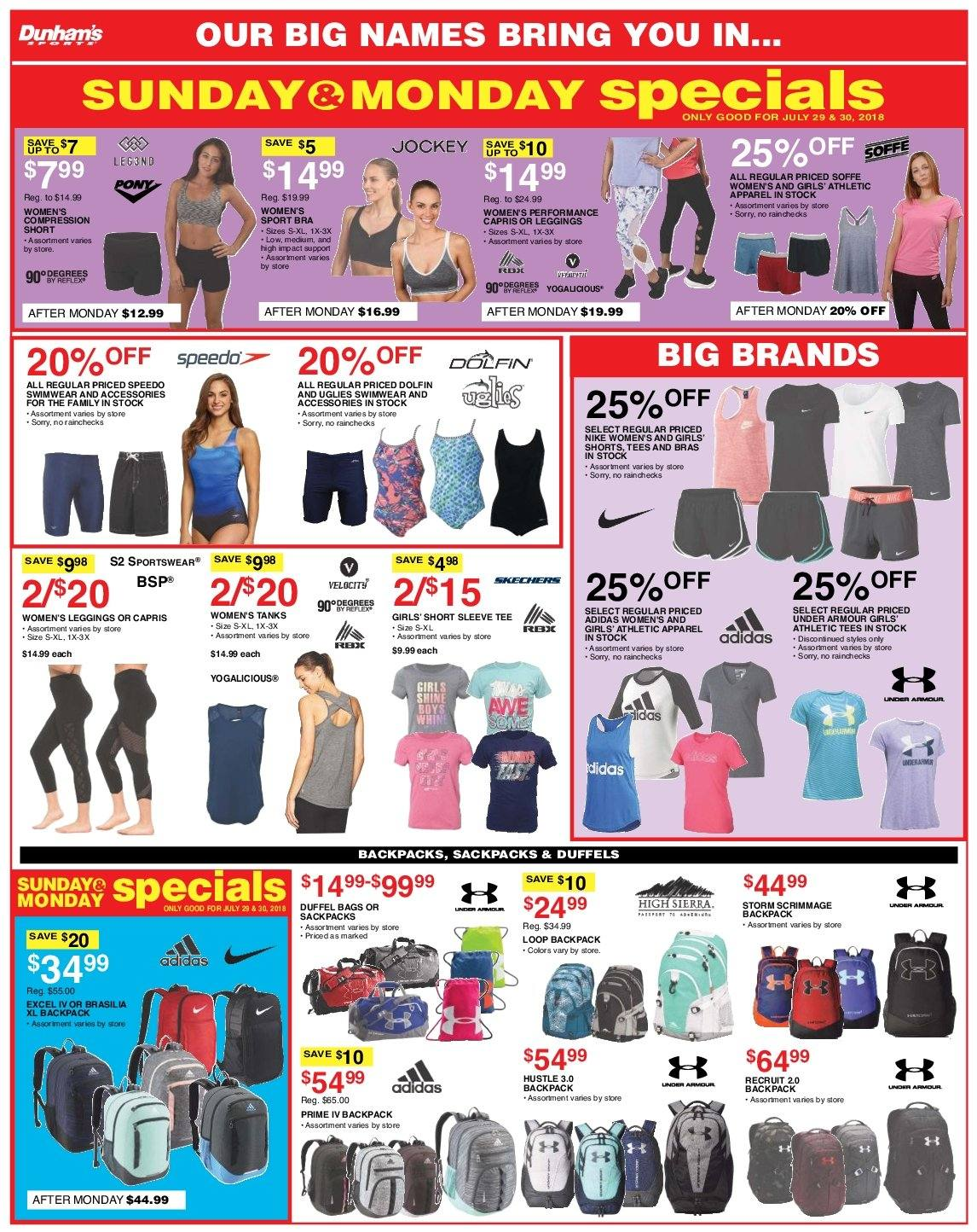 Dunham's Sports Flyer - 07.28.2018 - 08.02.2018 - Sales products - accessories, apparel, backpack, bag, bra, leggings, shorts, speedo, tee, under armour, nike. Page 4.