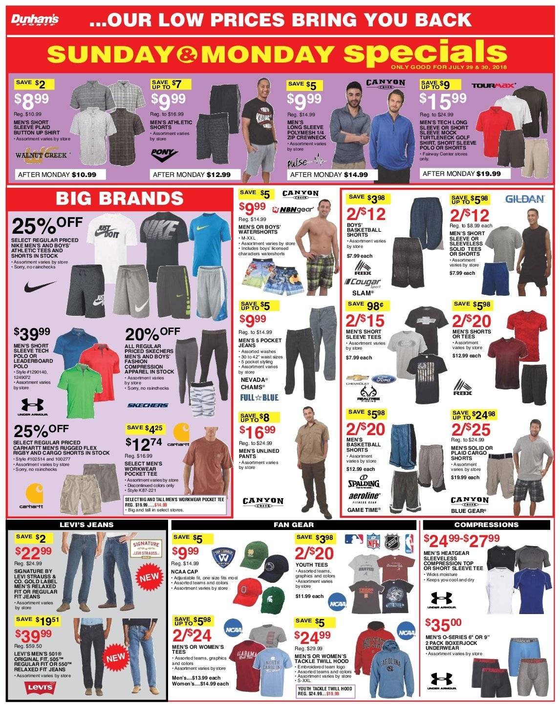 Dunham's Sports Flyer - 07.28.2018 - 08.02.2018 - Sales products - apparel, cap, moisture, shirt, shorts, solid, tee, underwear, hoodie, jeans, pants, nike. Page 5.