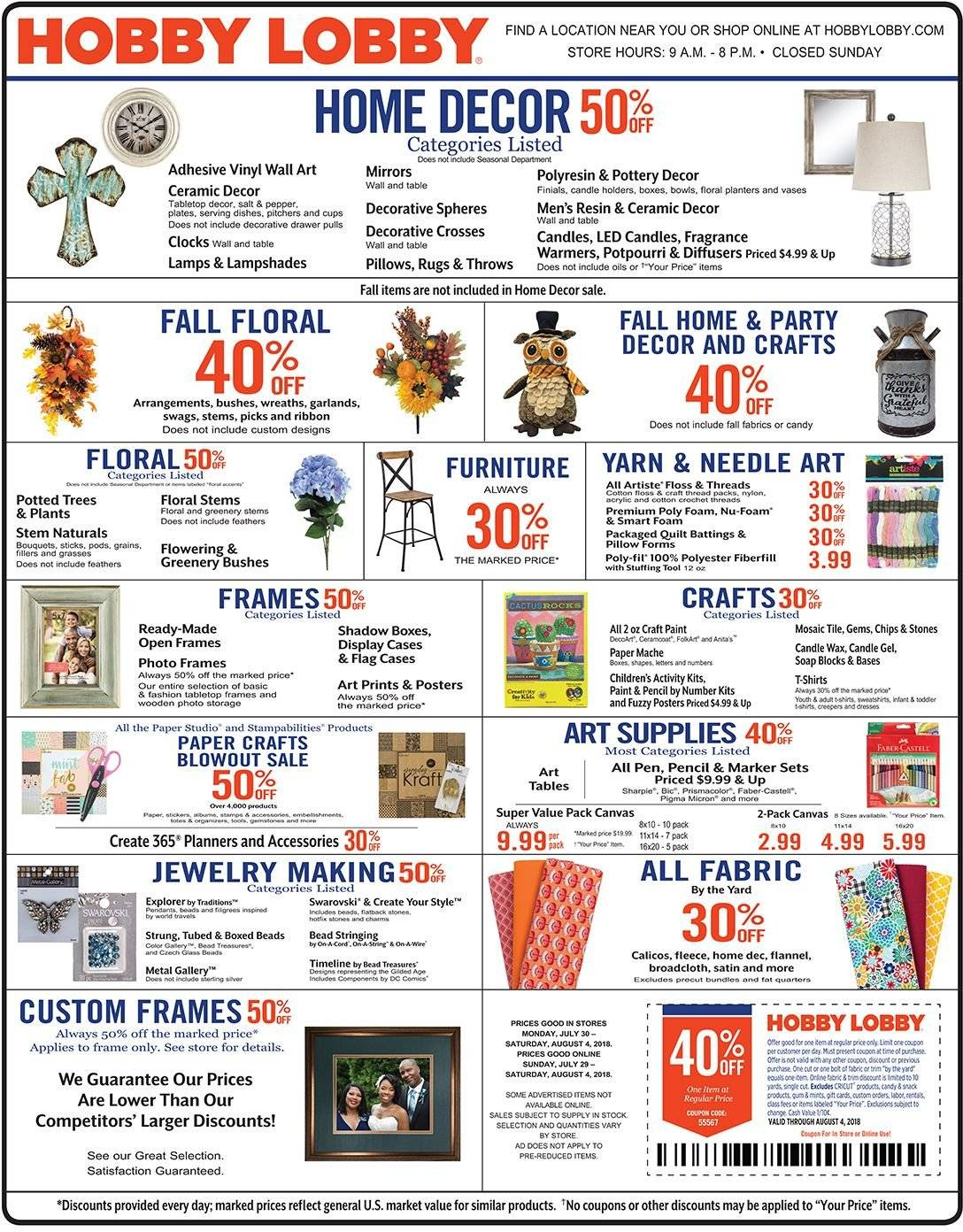 Hobby Lobby Flyer  - 07.29.2018 - 08.04.2018. Page 1.