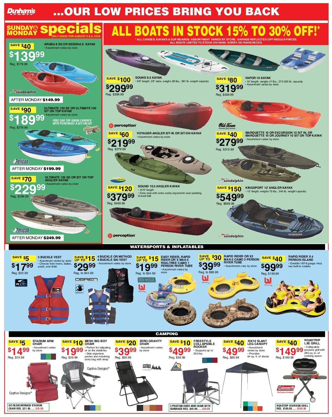 Dunham's Sports Flyer - 08.04.2018 - 08.09.2018 - Sales products - arm chair, canopy, grill, chair, kayak. Page 7.