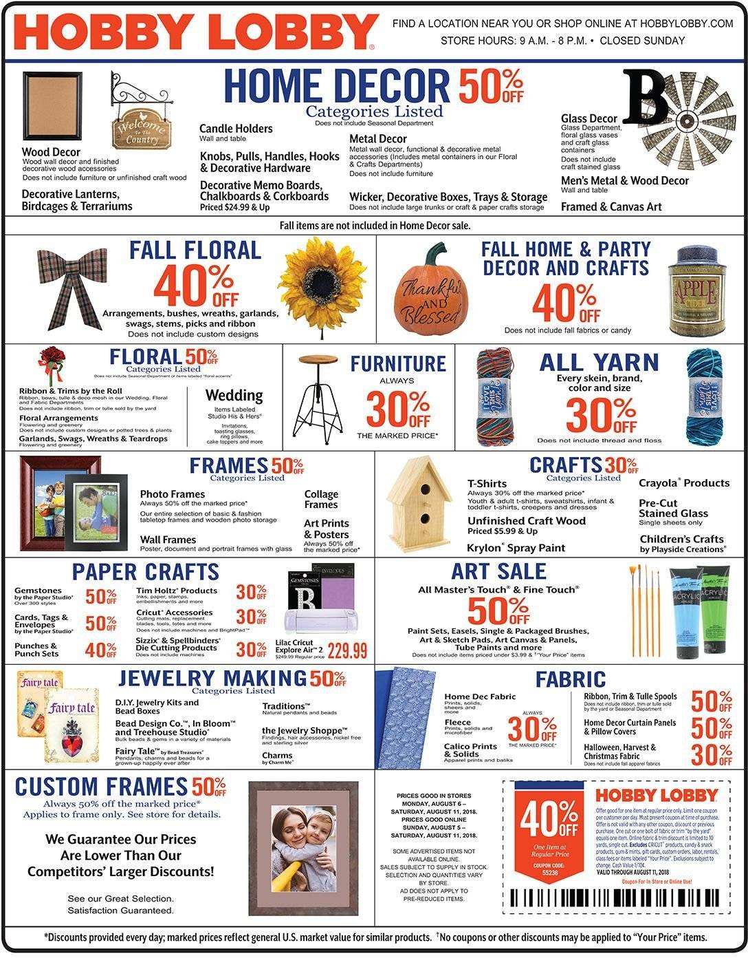 Hobby Lobby Flyer - 08.05.2018 - 08.11.2018 - Sales products - Crayola Crayons, paper, sketch pad, canvas, ribbon, curtains, wall decor, paint, swag. Page 1.