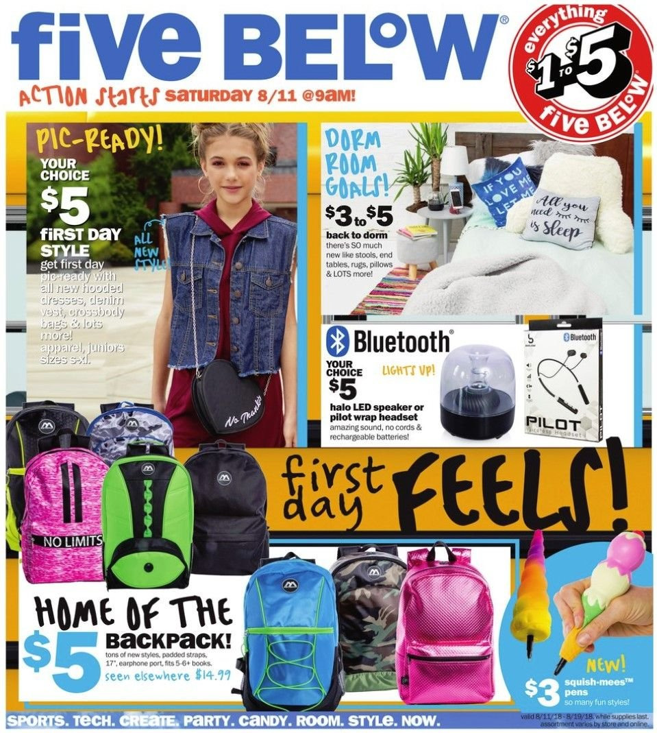 Five Below Flyer - 08.11.2018 - 08.19.2018 - Sales products - apparel, backpack, battery, bluetooth, dress, rug, speaker, table, wrap, pillow. Page 1.