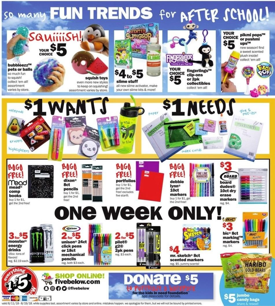 Five Below Flyer - 08.11.2018 - 08.19.2018 - Sales products - bag, foundation, pet. Page 6.