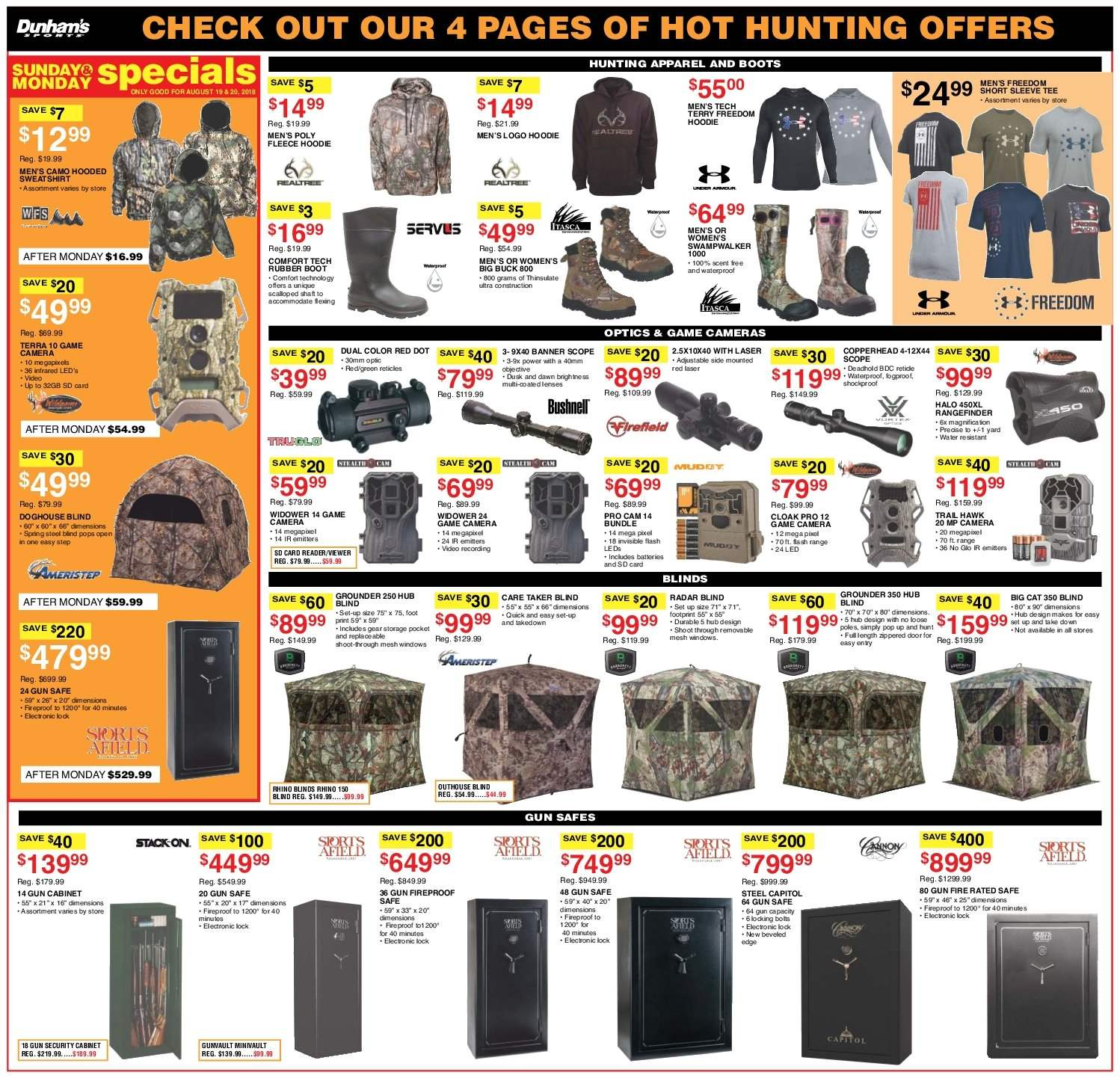 Dunham's Sports Flyer - 08.18.2018 - 08.23.2018 - Sales products - apparel, battery, boots, buck, bundle, cabinet, camera, door, game cam, lenses, rangefinder, safe, security cabinet, storage, tee, windows, gun, gun safe, hoodie, quick, optics. Page 6.
