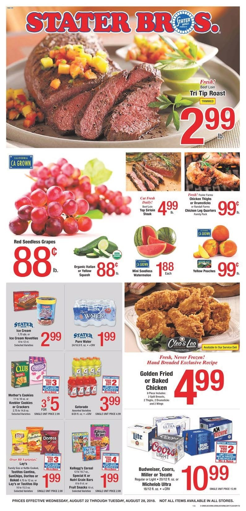 Stater Bros. Flyer  - 08.22.2018 - 08.28.2018. Page 1.
