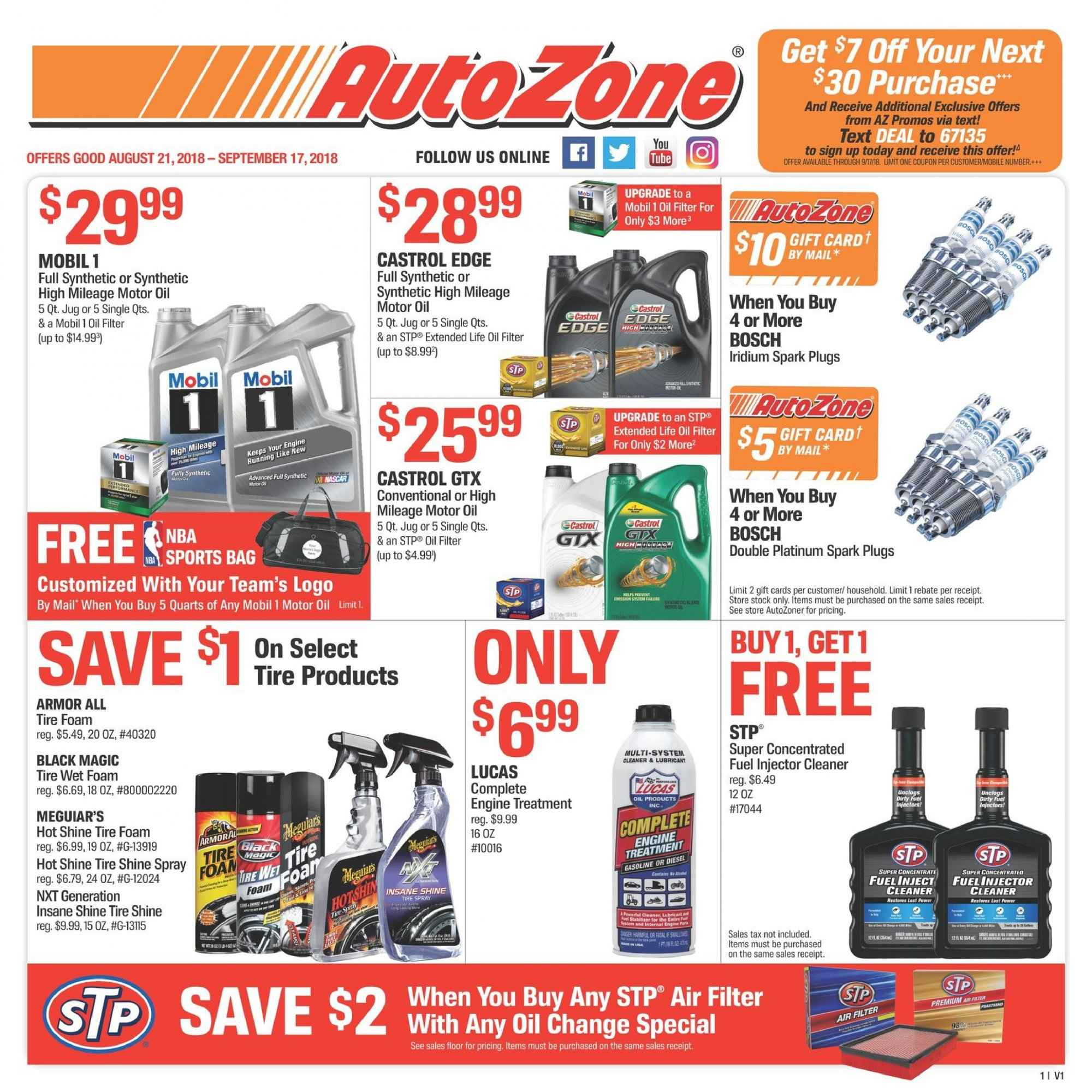 Autozone Flyer - 08.21.2018 - 09.17.2018 - Sales products - air filter, armor all, bag, bosch, foam, fuel, lucas, mobil, motor oil, spark plugs, spray, treatment, injector cleaner. Page 1.
