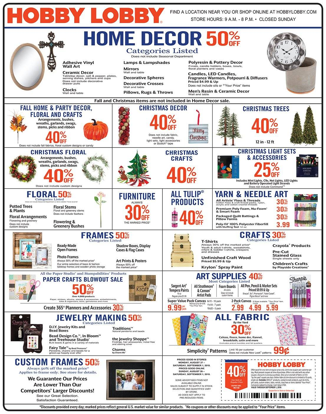 Hobby Lobby Flyer  - 08.26.2018 - 09.01.2018. Page 1.