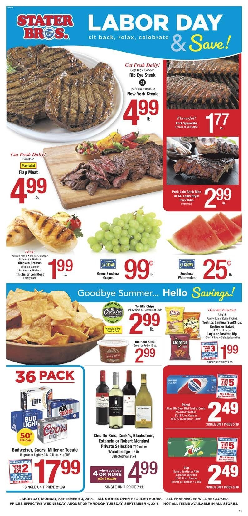 Stater Bros. Flyer  - 08.29.2018 - 09.04.2018. Page 1.