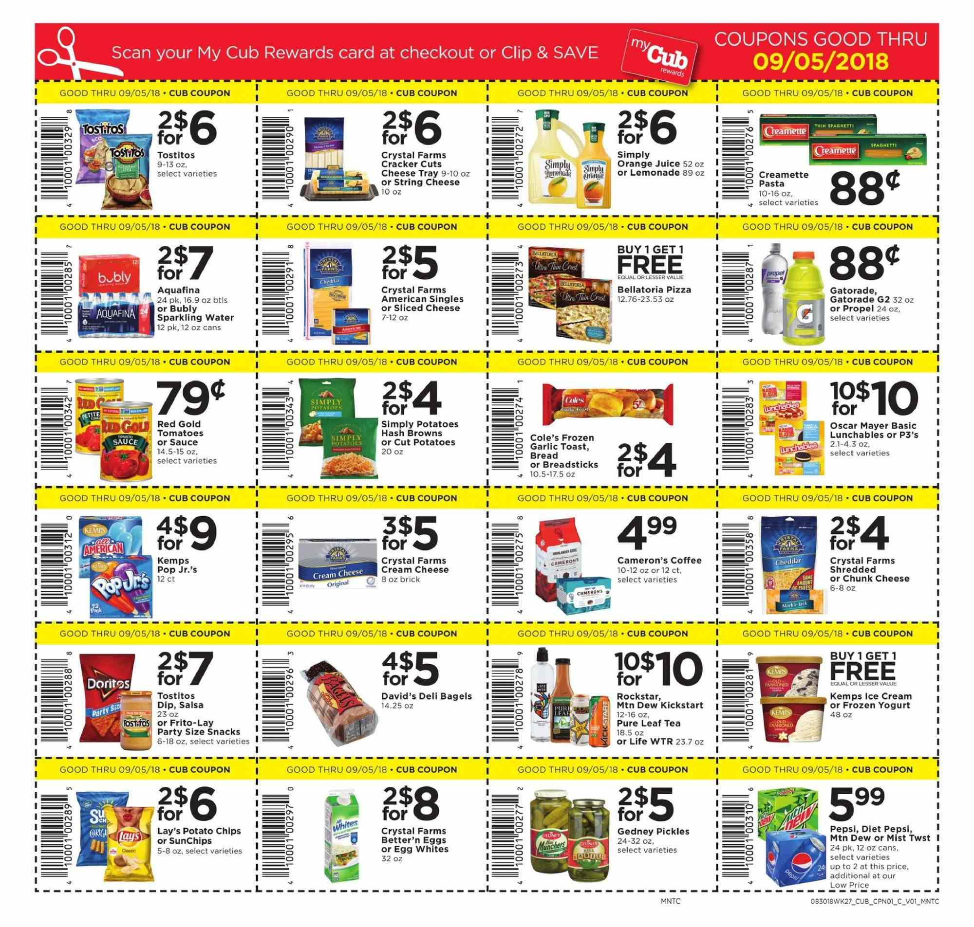 Cub Foods Flyer - 08.30.2018 - 09.05.2018 - Sales products - tomatoes, orange, bread, breadsticks, bagels, cream cheese, pizza, sliced cheese, string cheese, cheese, eggs, sauce, potato chips, chips, Lay's, lemonade, Pepsi, orange juice, juice, diet pepsi, coffee. Page 1.