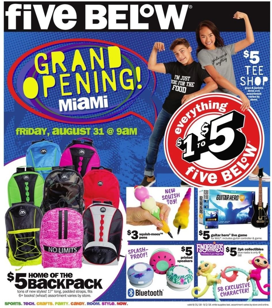 Five Below Flyer - 08.31.2018 - 09.02.2018 - Sales products - bluetooth, tee. Page 1.