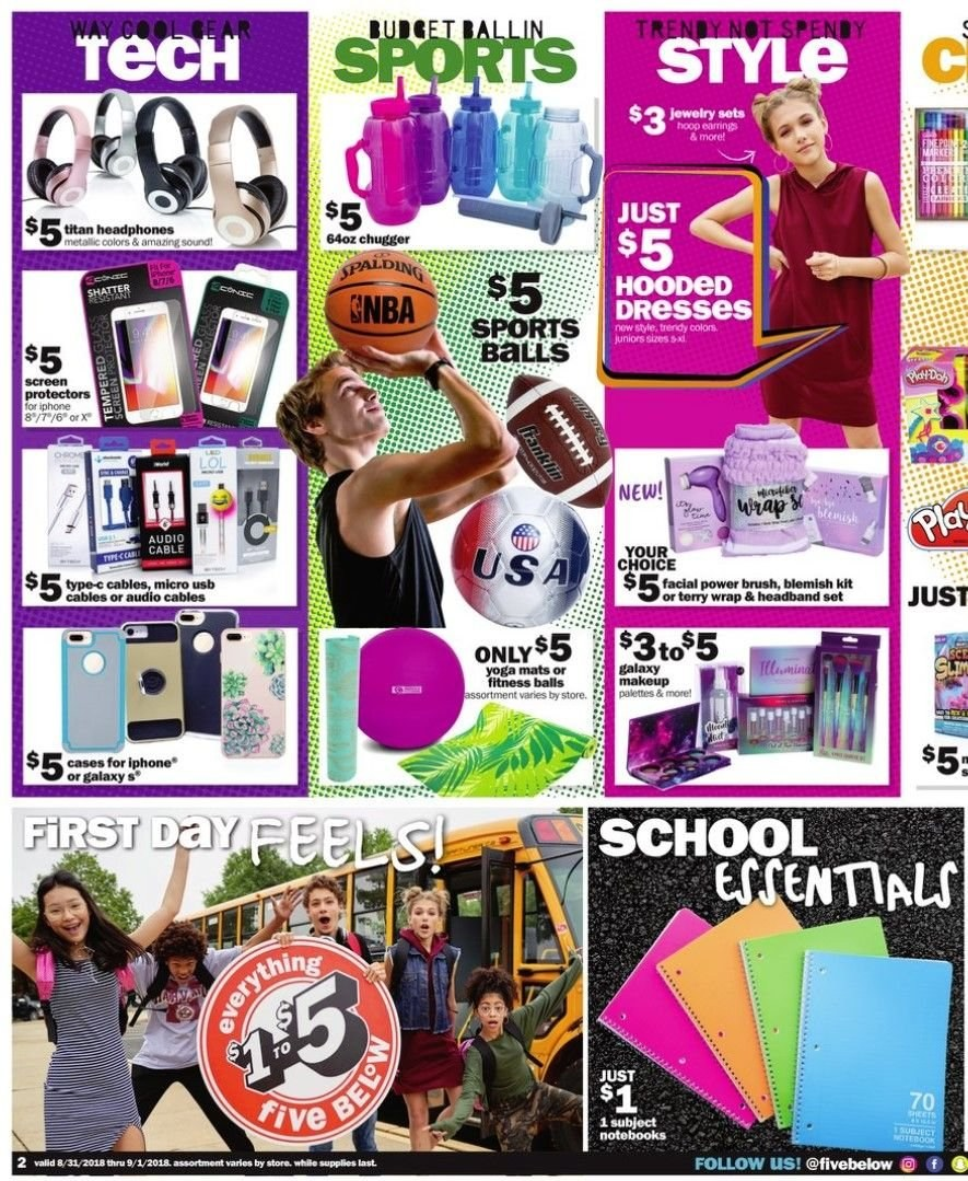Five Below Flyer - 08.31.2018 - 09.02.2018 - Sales products - brush, dress, galaxy, usb, wrap. Page 2.