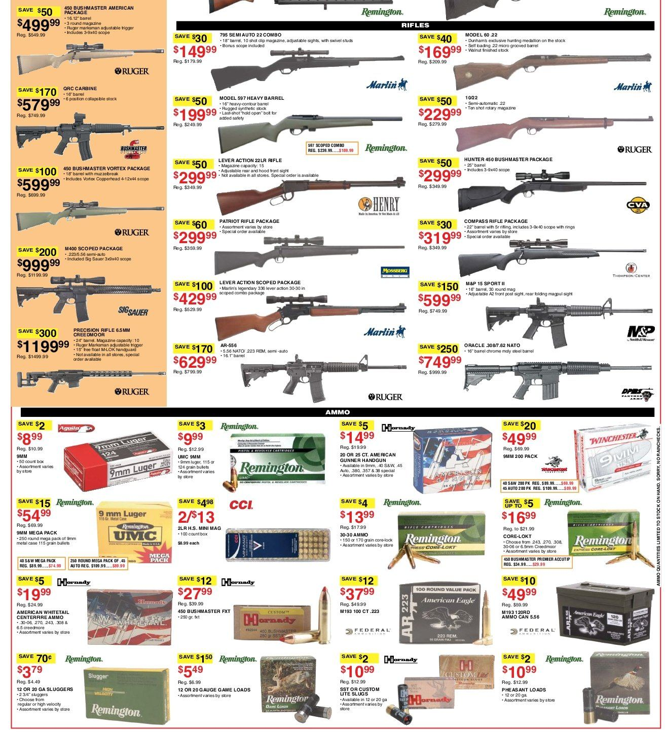 Dunham's Sports Flyer - 09.08.2018 - 09.13.2018 - Sales products - 9mm, carbine, luger, marlin, remington, rifle, ring, ruger, studs, tree, vortex, whitetail, handgun, hoodie. Page 8.