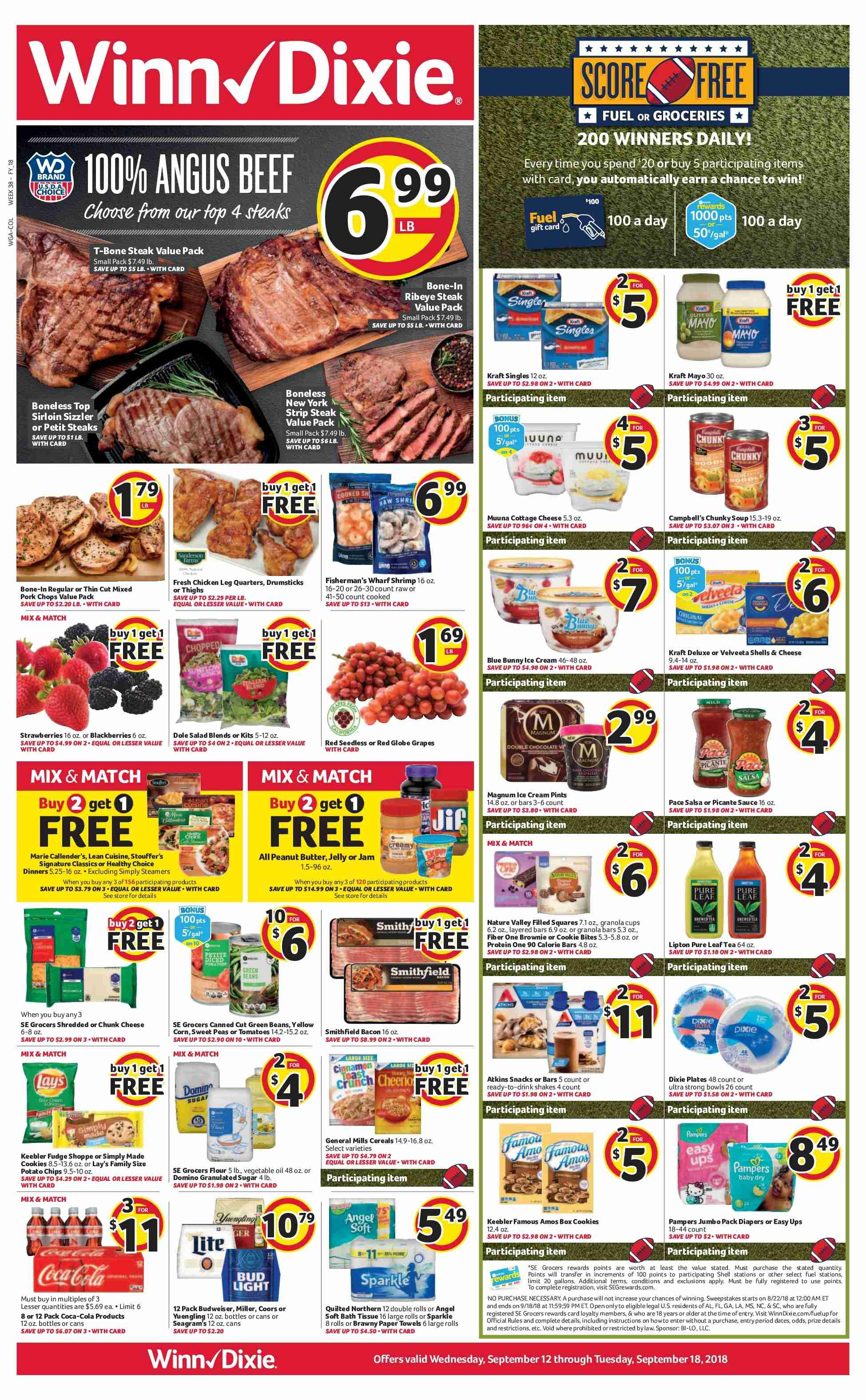 Winn Dixie Flyer - 09.12.2018 - 09.18.2018 - Sales products - Bud Light, green beans, grapes, red globe grapes, rolls, beef meat, pork chops, pork meat, shrimps, bacon, cheese, jelly, salsa, sauce, Magnum, ice cream, beans, cookies, snack, Lay's, cereals, granola, vegetable oil, jam, peanut butter, Coca-Cola, paper towel, Quilted Northern, protein. Page 1.