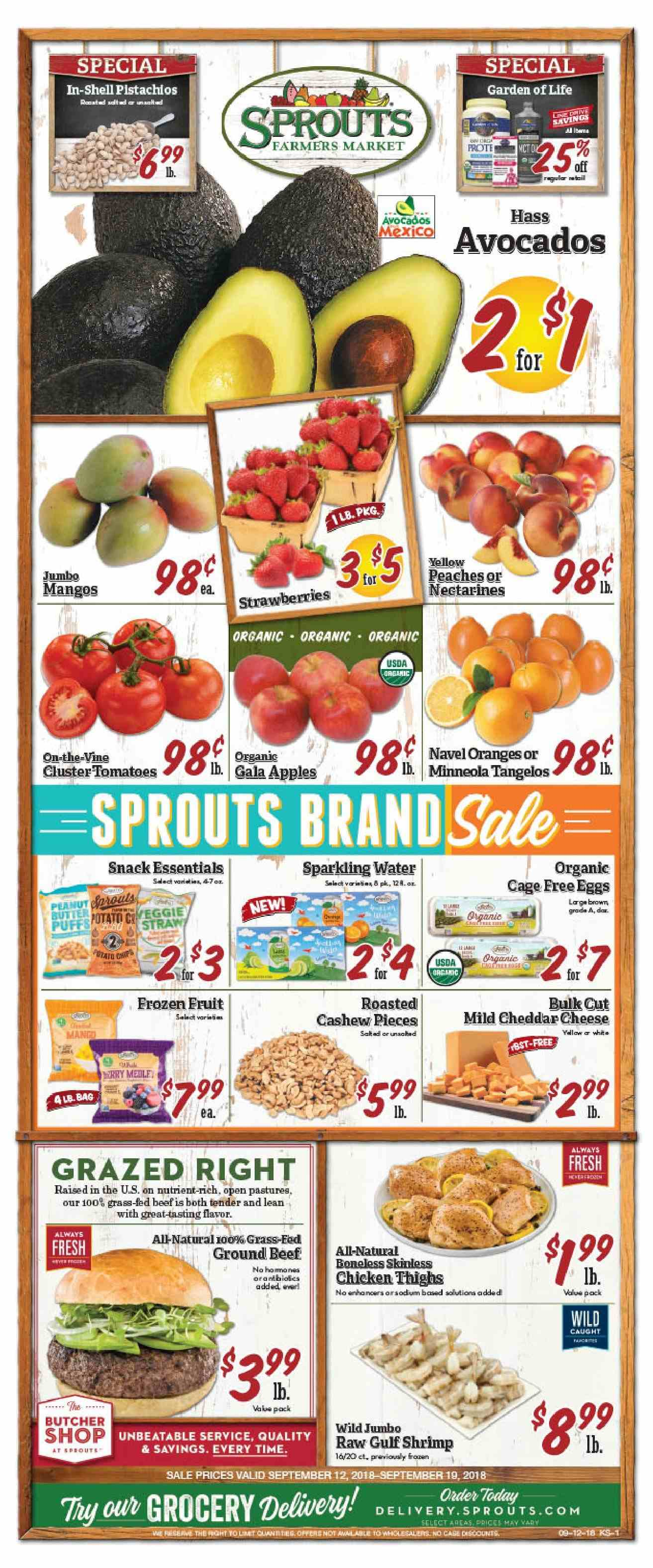 Sprouts Flyer - 09.12.2018 - 09.19.2018 - Sales products - tomatoes, avocado, Gala, mango, nectarines, strawberries, tangelos, orange, peache, shrimps, snack, water, beef meat, ground beef, essentials. Page 1.