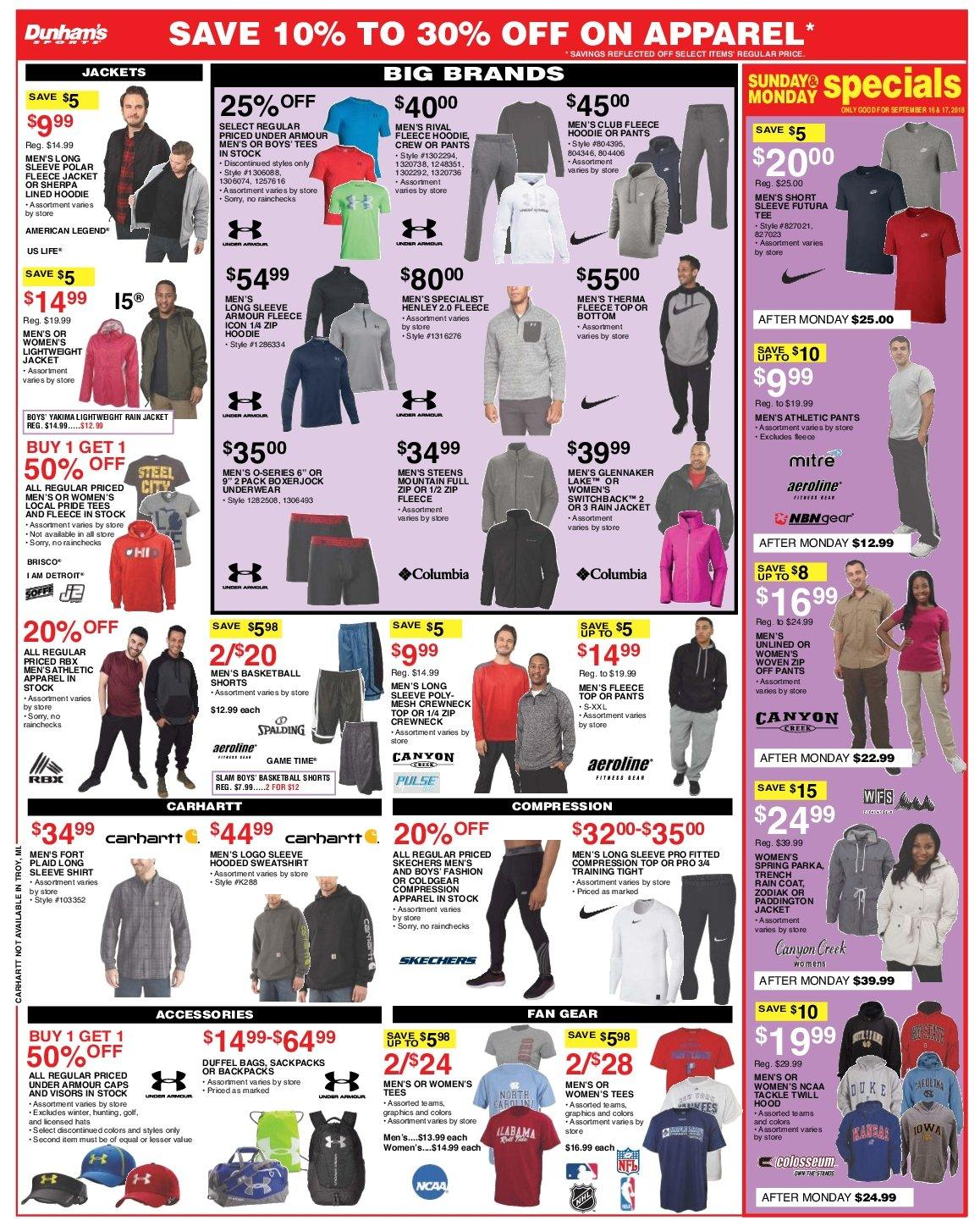 Dunham's Sports Flyer - 09.15.2018 - 09.20.2018 - Sales products - accessories, apparel, bag, coat, sherpa, shirt, shorts, sweatshirt, tee, under armour, underwear, henley, hoodie, jacket, pants, parka. Page 7.