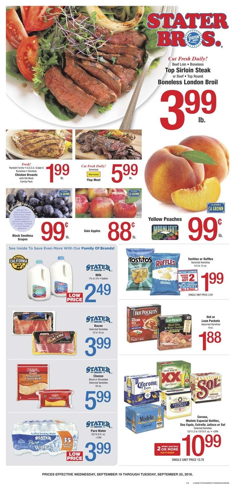 Stater Bros. Flyer  - 09.19.2018 - 09.25.2018. Page 1.