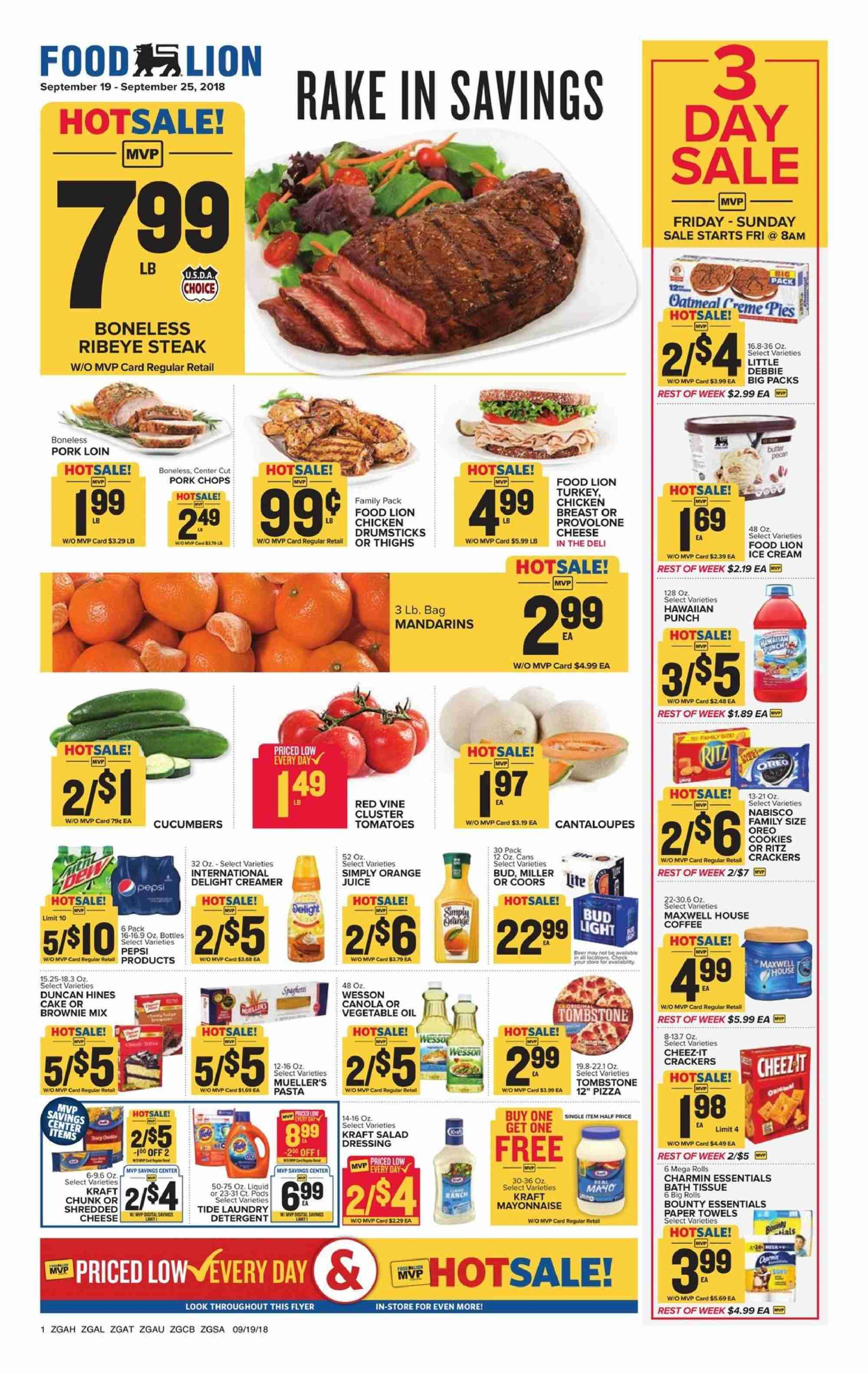 Food Lion Flyer  - 09.19.2018 - 09.25.2018. Page 1.