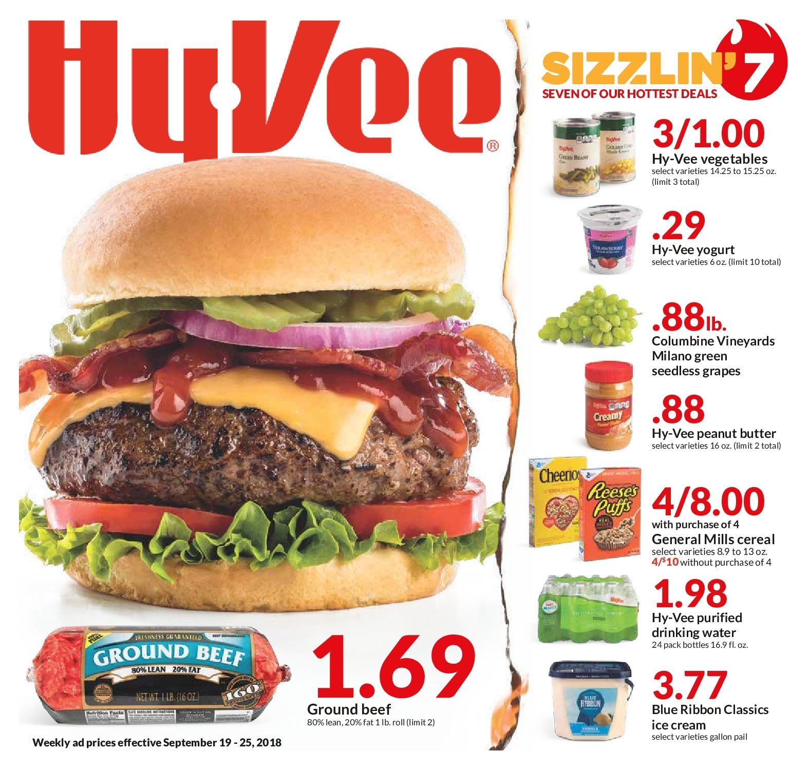 Hy-Vee Flyer - 09.19.2018 - 09.25.2018 - Sales products - beef meat, butter, grapes, ground beef, seedless grapes, yogurt, ice cream, peanut butter, peanuts, drinking water. Page 1.