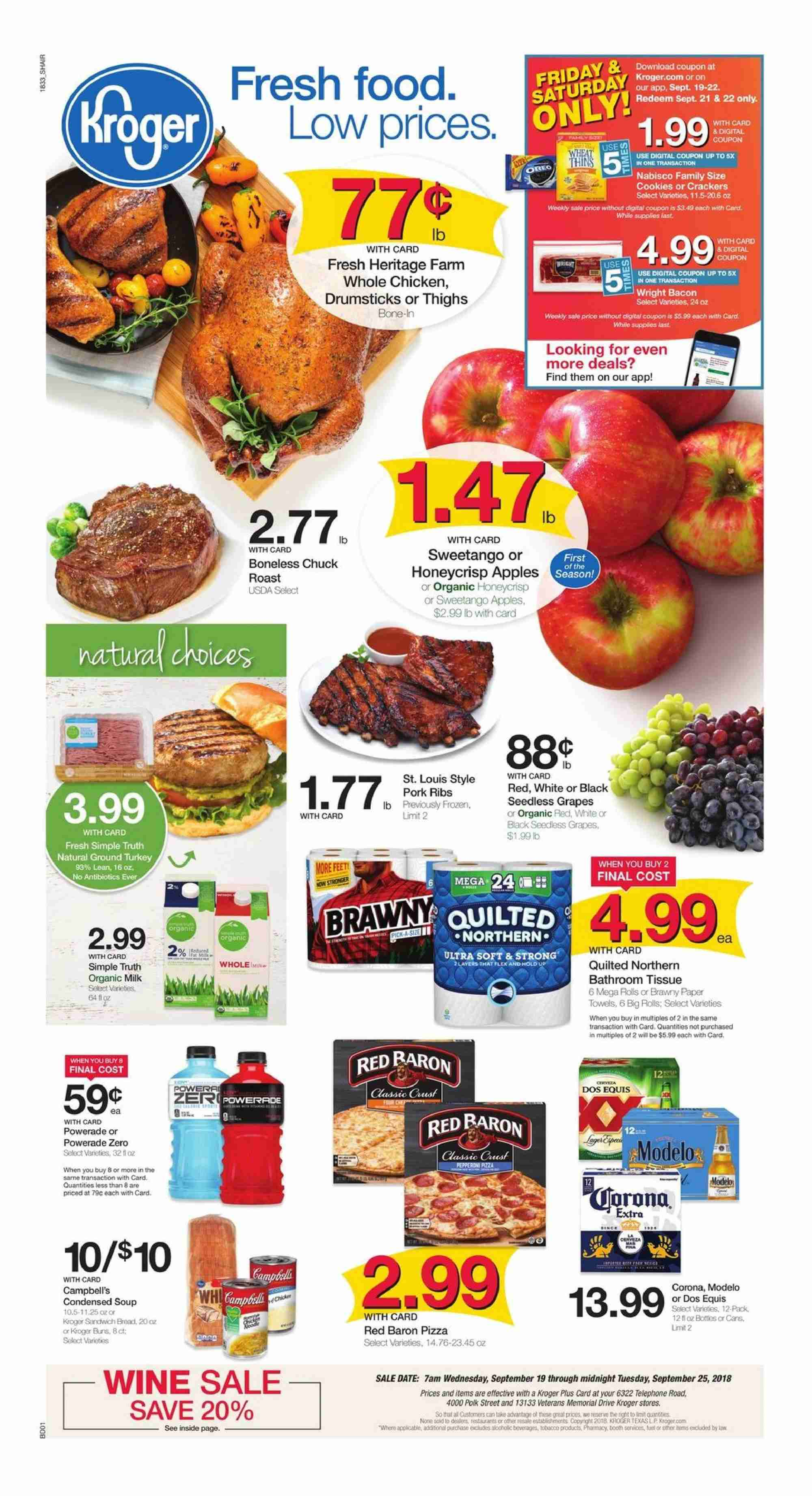 Kroger Flyer - 09.19.2018 - 09.25.2018 - Sales products - apples, bacon, bathroom, cookies, crackers, frozen, grapes, ground turkey, milk, seedless grapes, towel, turkey, whole chicken, pizza, polk, pork meat, pork ribs, chicken, paper towel, organic, organic milk. Page 1.