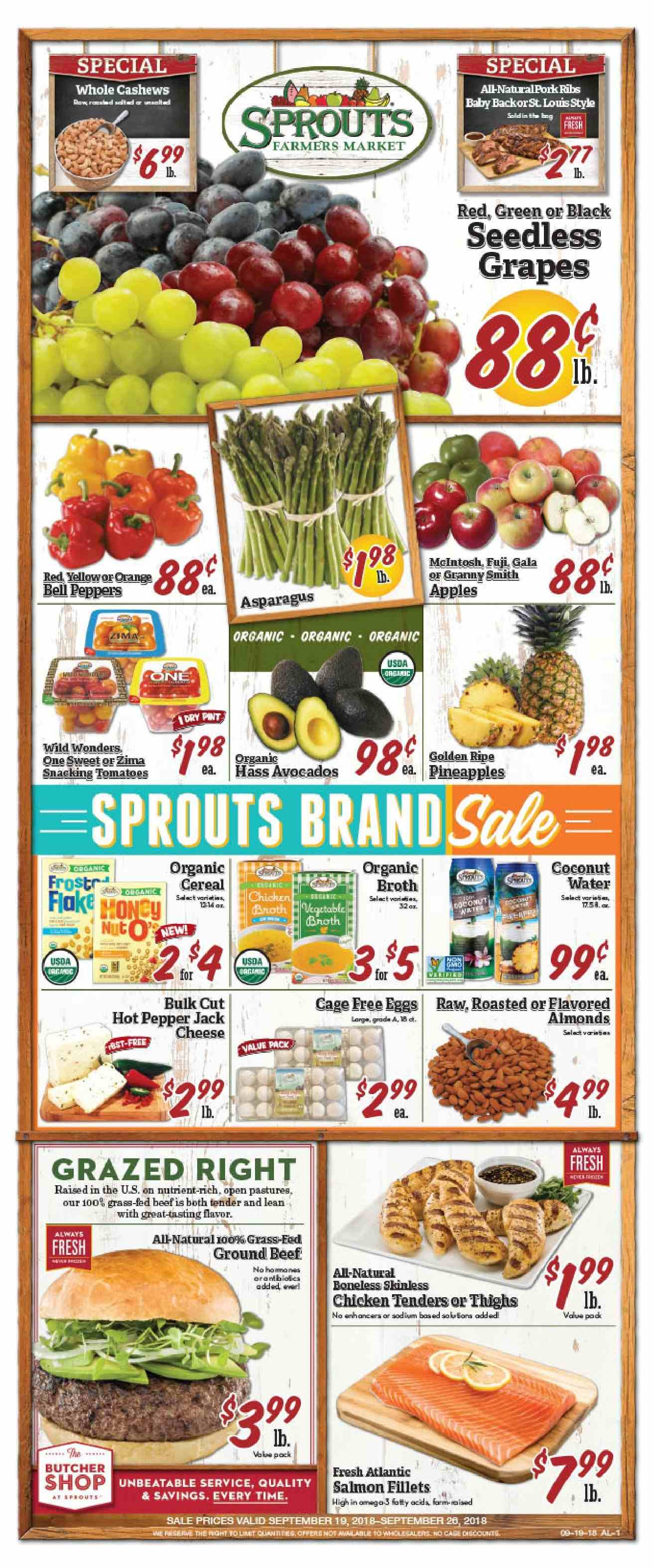 Sprouts Flyer  - 09.19.2018 - 09.26.2018. Page 1.