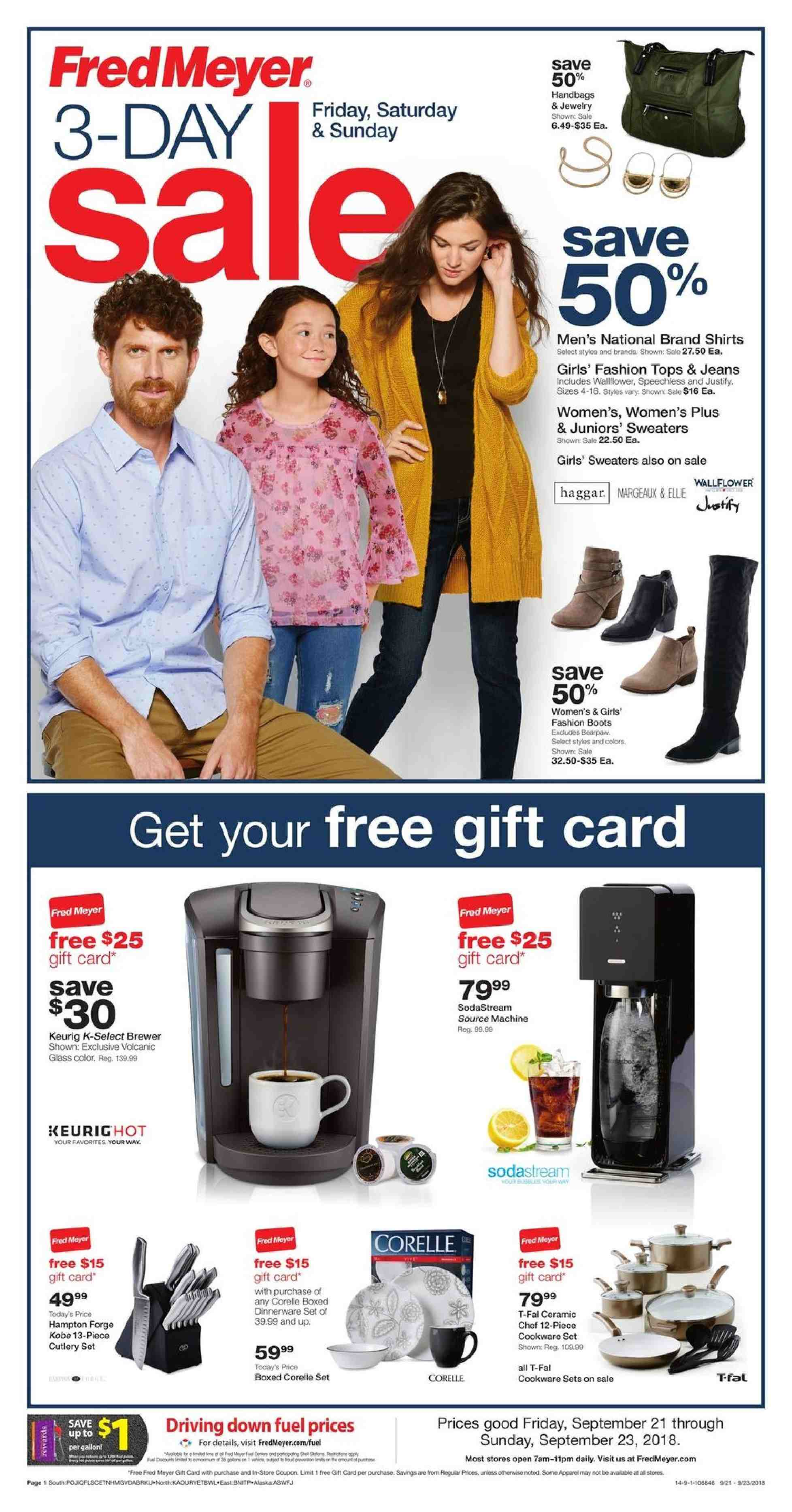 Fred Meyer Flyer - 09.21.2018 - 09.23.2018 - Sales products - brewer, cookware set, dinnerware set, cutlery set, glass, SodaStream, fuel. Page 1.