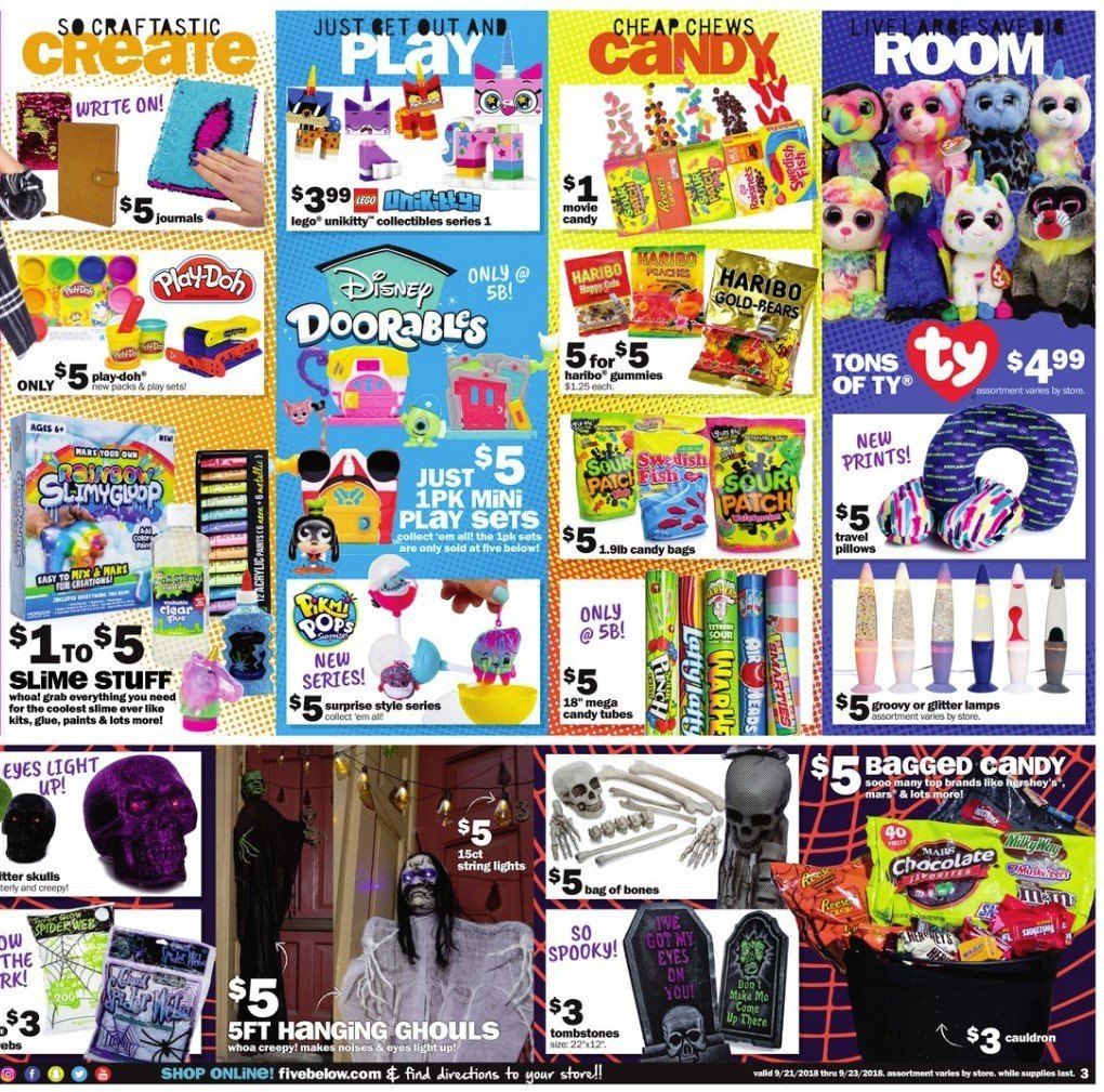 Five Below Flyer - 09.21.2018 - 09.23.2018 - Sales products - bag, glitter, lego, top, pillow, chocolate. Page 3.