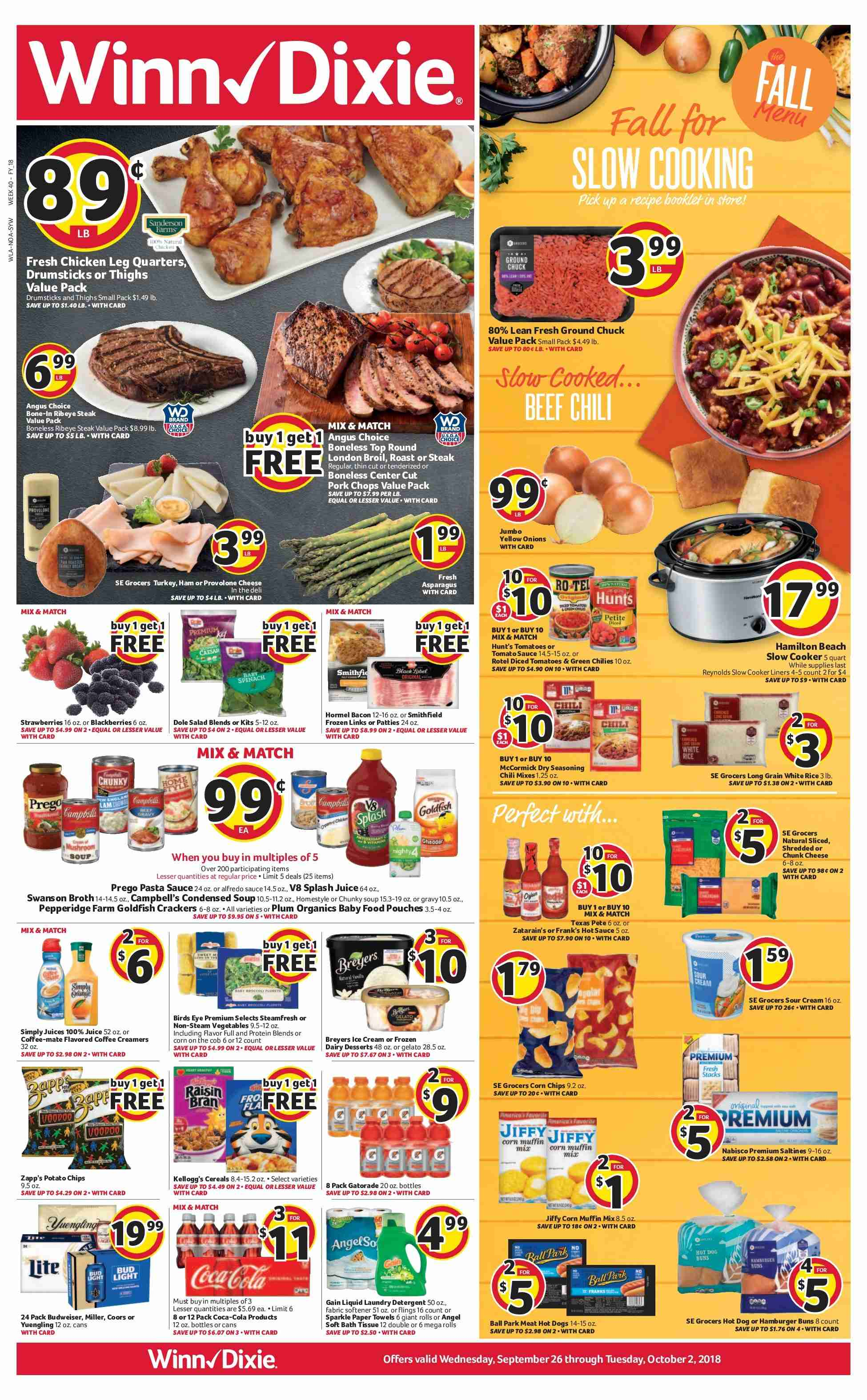 Winn Dixie Flyer - 09.26.2018 - 10.02.2018 - Sales products - alfredo sauce, angel, bath, bath tissue, beef meat, budweiser, campbell's, coca-cola, coffee, coffee-mate, corn, crackers, detergent, frozen, gain, gelato, ground chuck, mate, muffin mix, rice, slow cooker, tomatoes, towel, turkey, yellow onions, ham, hot dog, hot sauce, ice cream, protein, provolone, chicken, paper towel, pasta sauce, onion. Page 1.