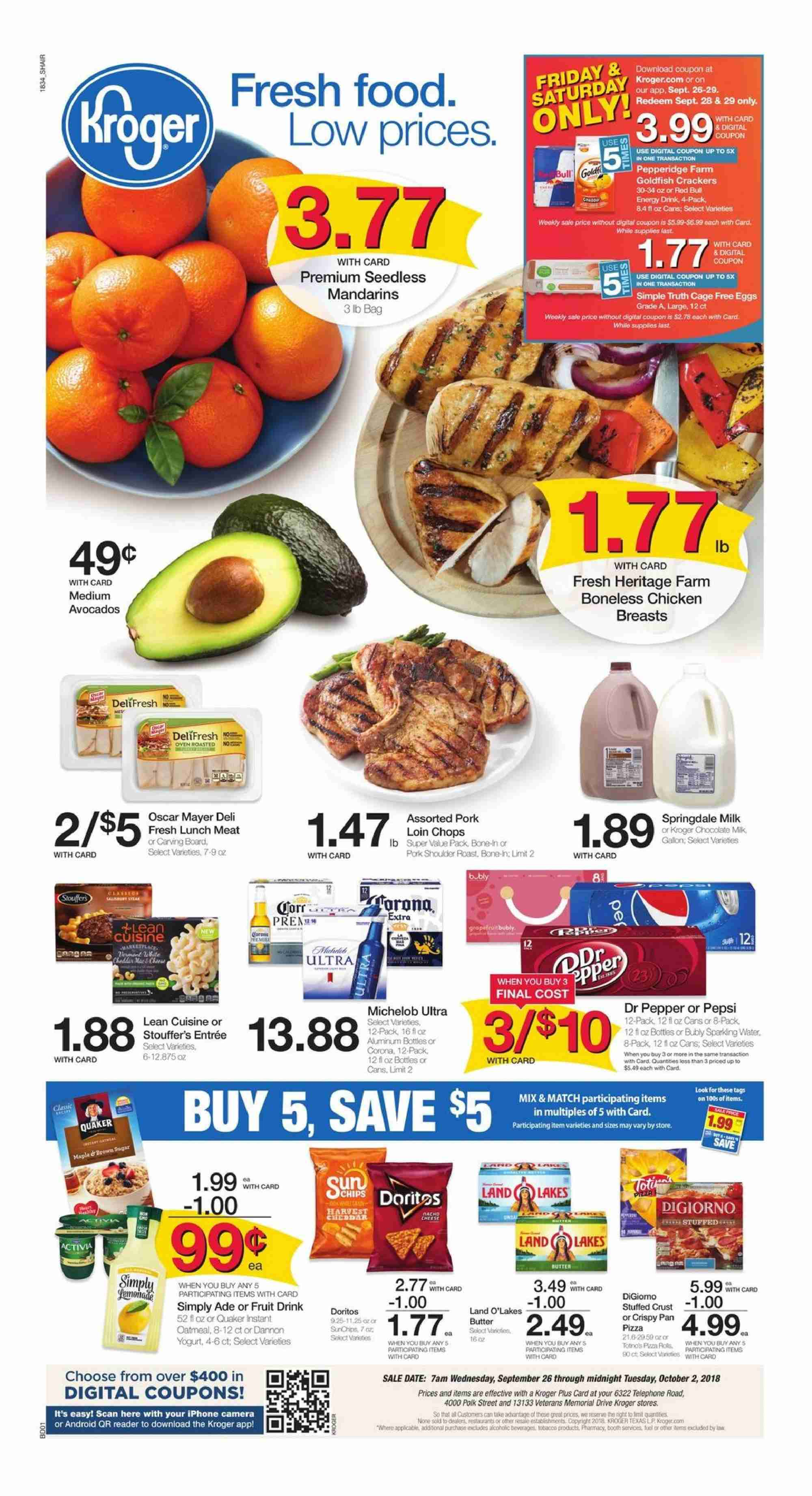 Kroger Flyer - 09.26.2018 - 10.02.2018 - Sales products - android, camera, doritos, eggs, milk, yogurt, pizza, polk, pork meat, pork shoulder, chicken, chicken breast, pepsi, oatmeal, chips, chocolate. Page 1.