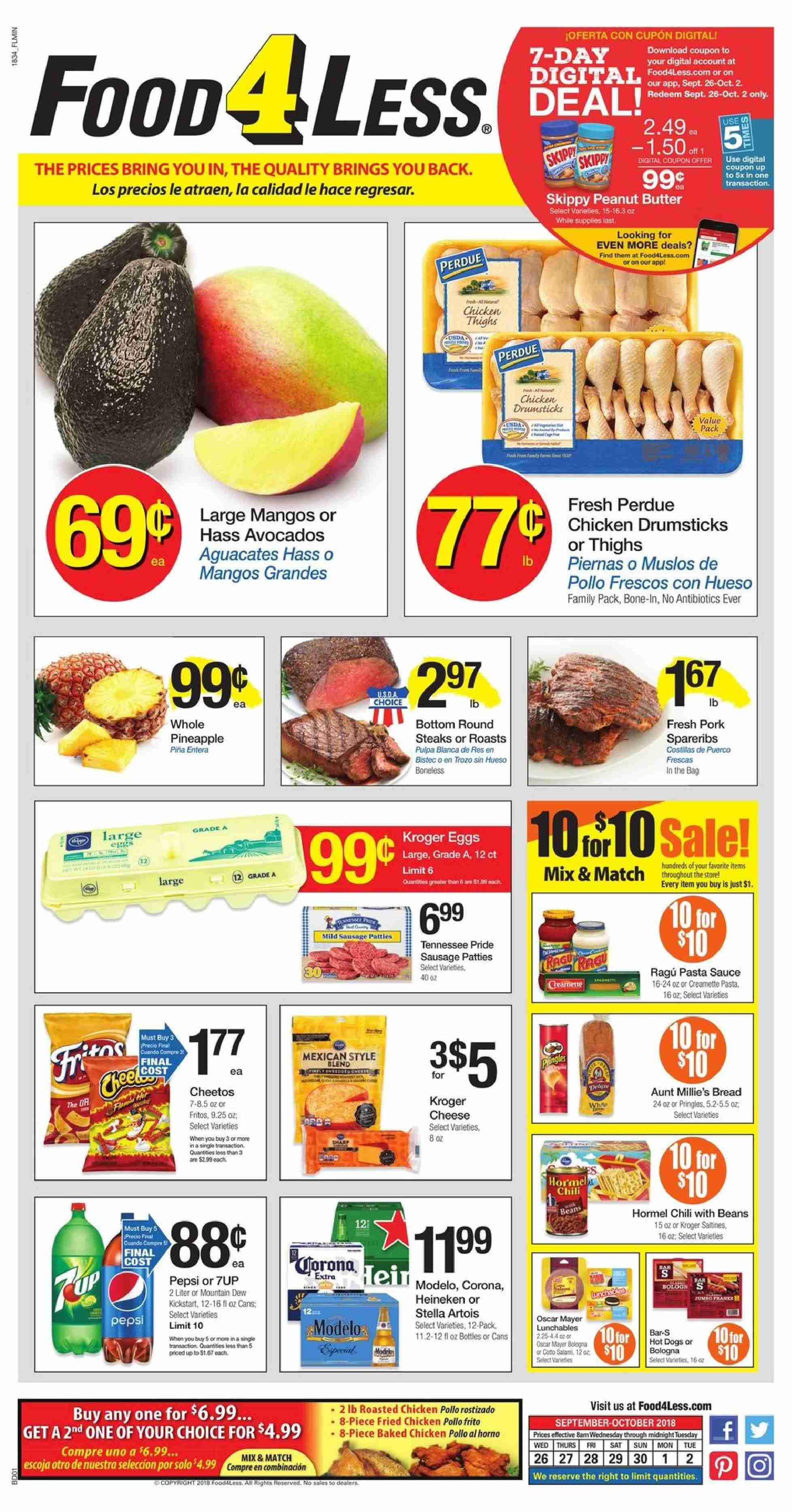Food 4 Less Flyer  - 09.26.2018 - 10.02.2018. Page 1.