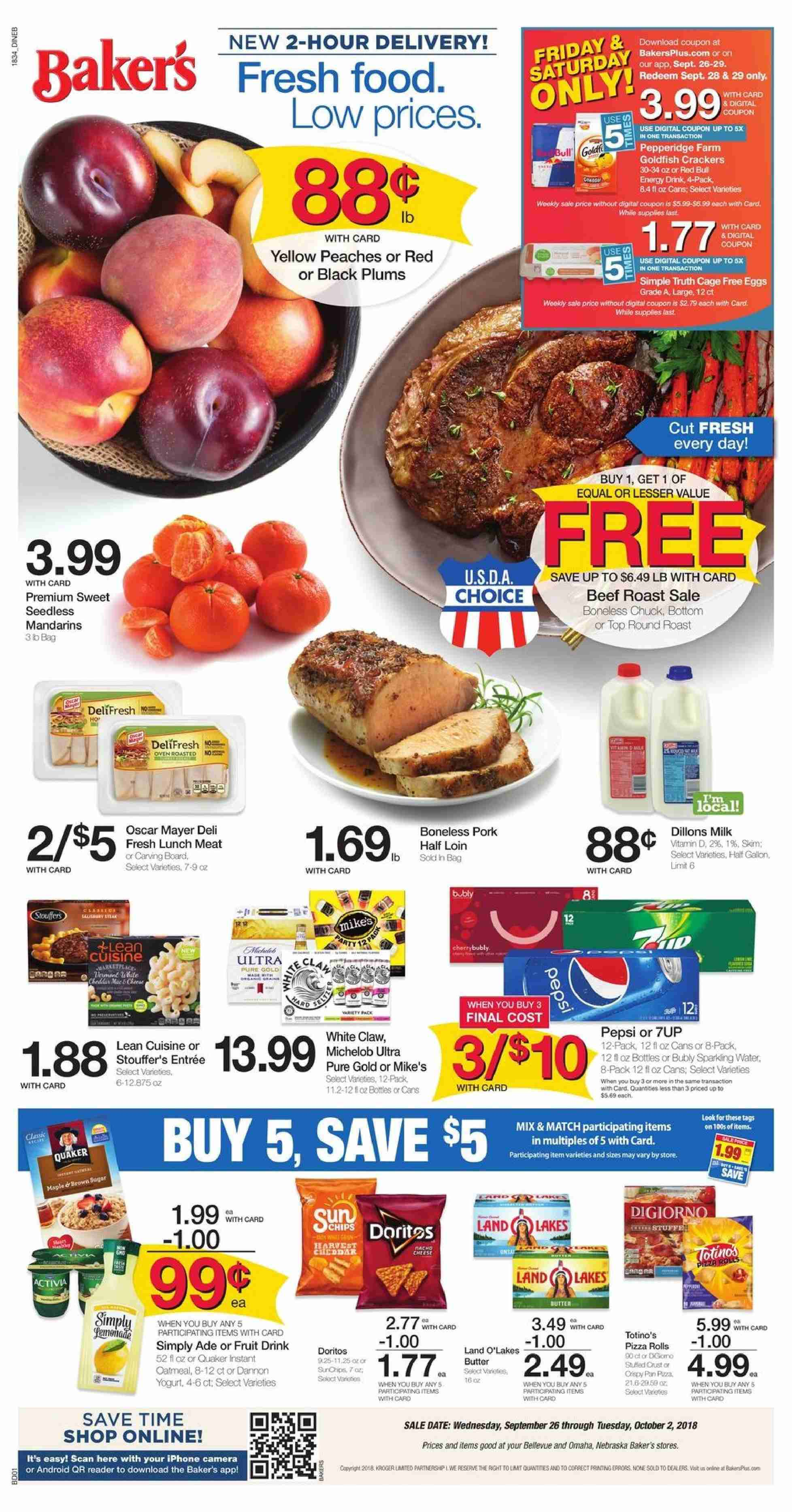 Baker's Flyer  - 09.26.2018 - 10.02.2018. Page 1.