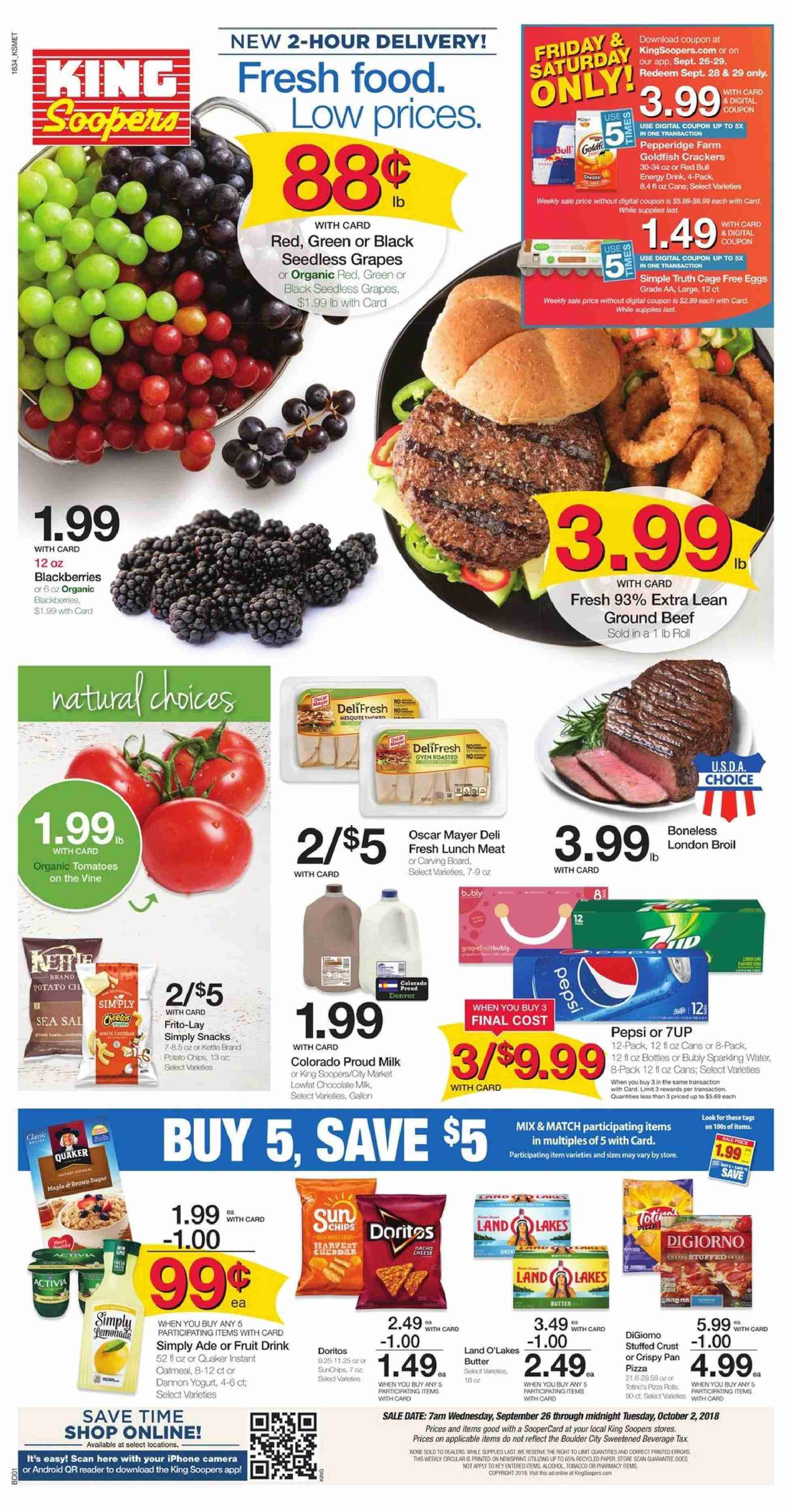 King Soopers Flyer  - 09.26.2018 - 10.02.2018. Page 1.