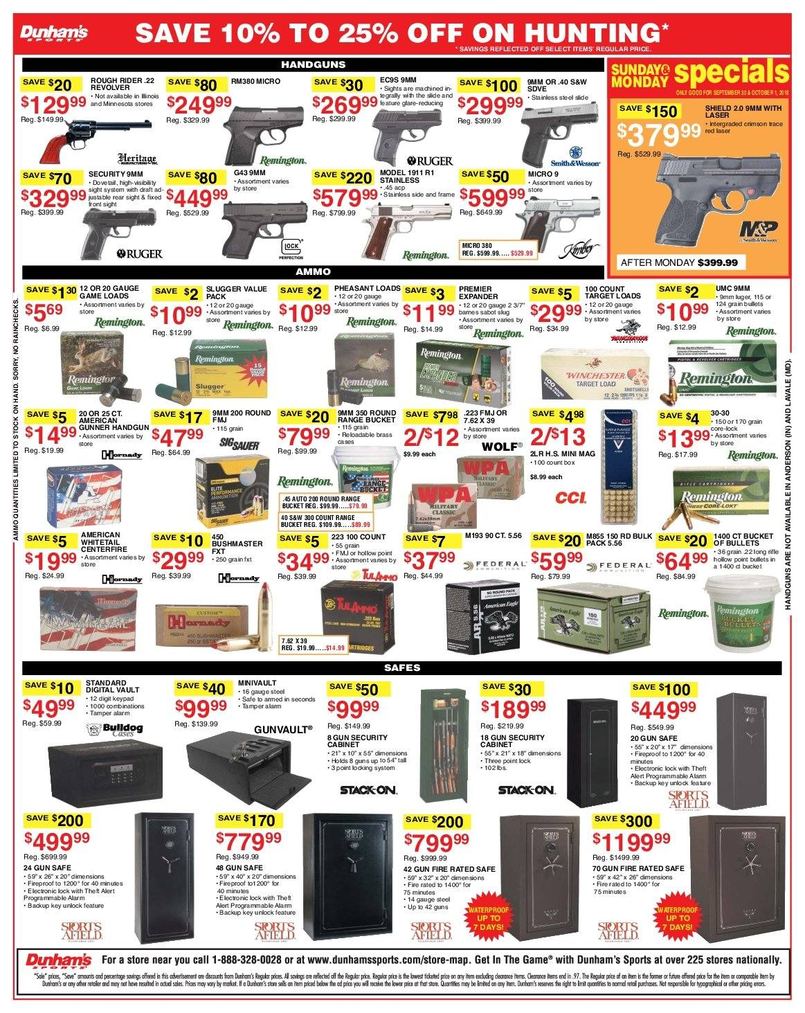Dunham's Sports Flyer - 09.29.2018 - 10.04.2018 - Sales products - 9mm, frame, remington, ruger, safe, sole, whitetail, gun, gun safe, handgun. Page 3.