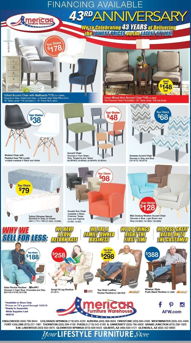 American Furniture Warehouse Flyer  - 09.30.2018 - 10.06.2018. Page 1.