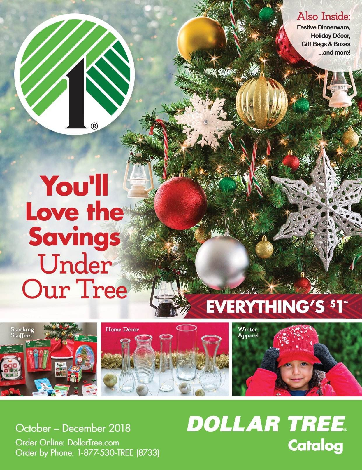 Dollar Tree Flyer - 10.01.2018 - 12.31.2018 - Sales products - dinnerware set, bag. Page 1.